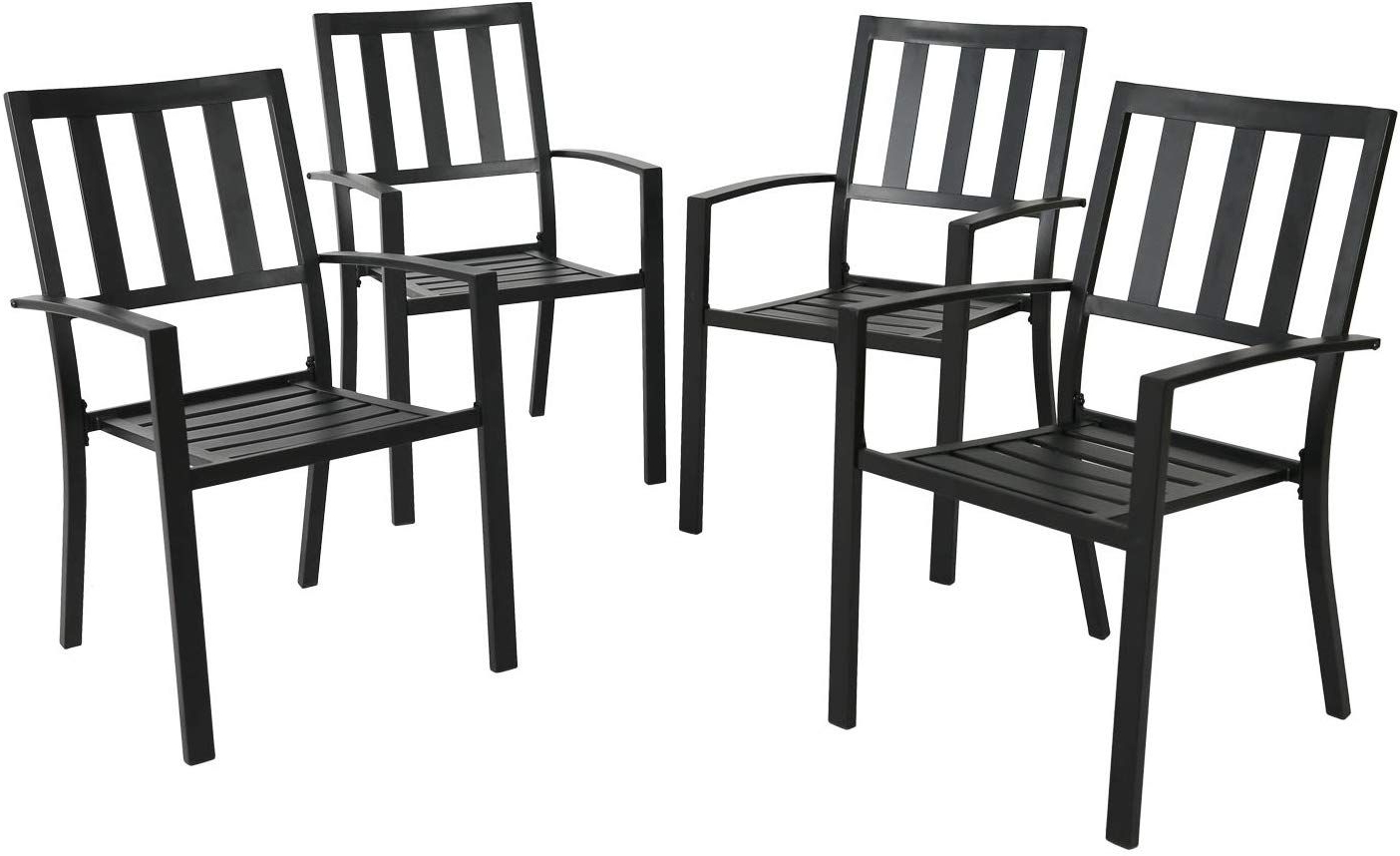 Ulax Furniture Outdoor Patio Dining Arm Chairs Steel Slat In Most Up To Date Irwin Blossom Garden Stools (View 20 of 30)