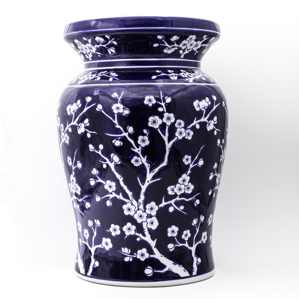 Unbranded Blue Garden Cobalt Cherry Blossom Podium Stool 32044 – The Home Depot Inside Well Known Williar Cherry Blossom Ceramic Garden Stools (View 3 of 30)
