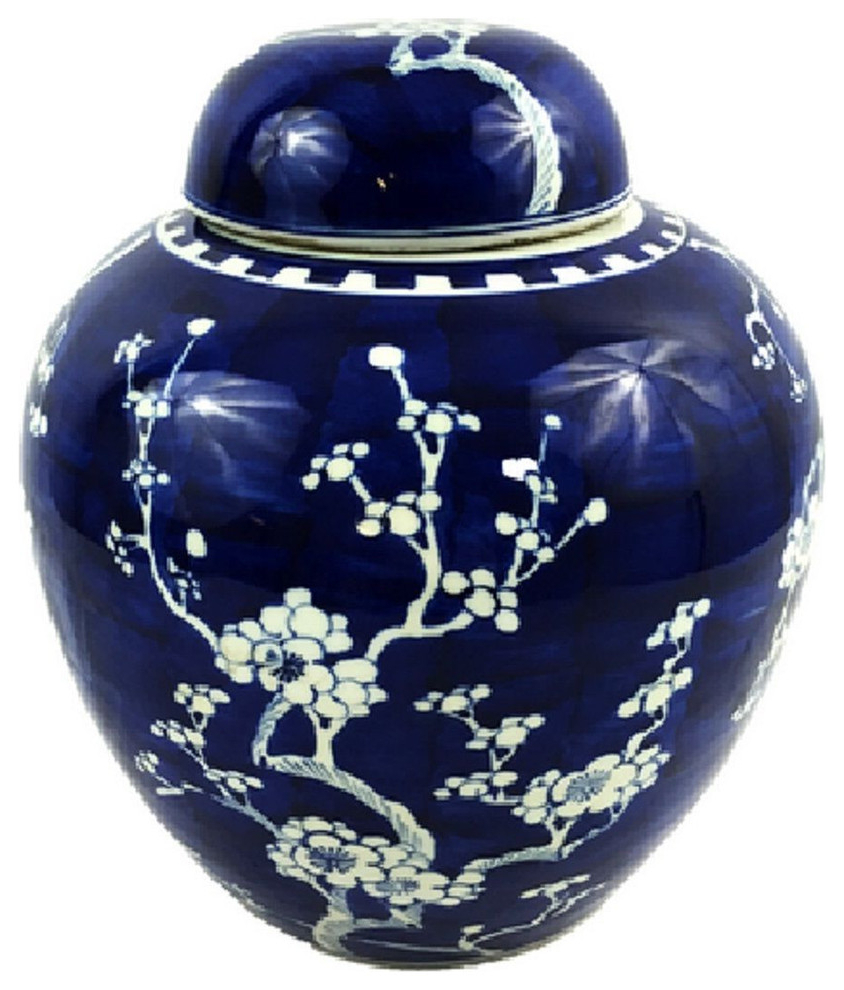 "Vintage Style Blue And White Cherry Blossom Rounded Ginger Jar 10"" In Fashionable Williar Cherry Blossom Ceramic Garden Stools (View 18 of 30)"