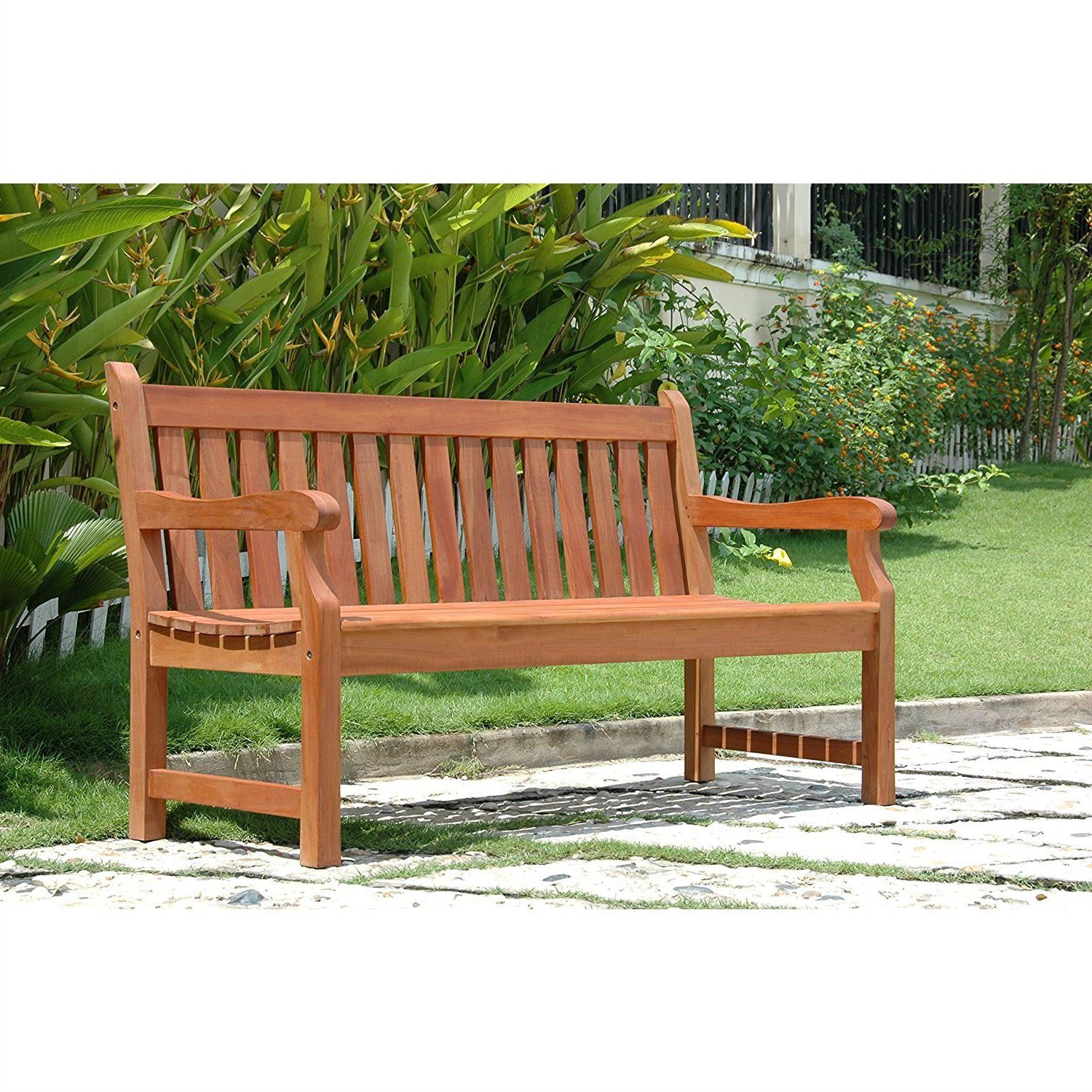 Wallie Teak Garden Benches Intended For 2019 Outdoor Eucalyptus Wood 5 Ft Garden Bench With Natural (View 8 of 30)