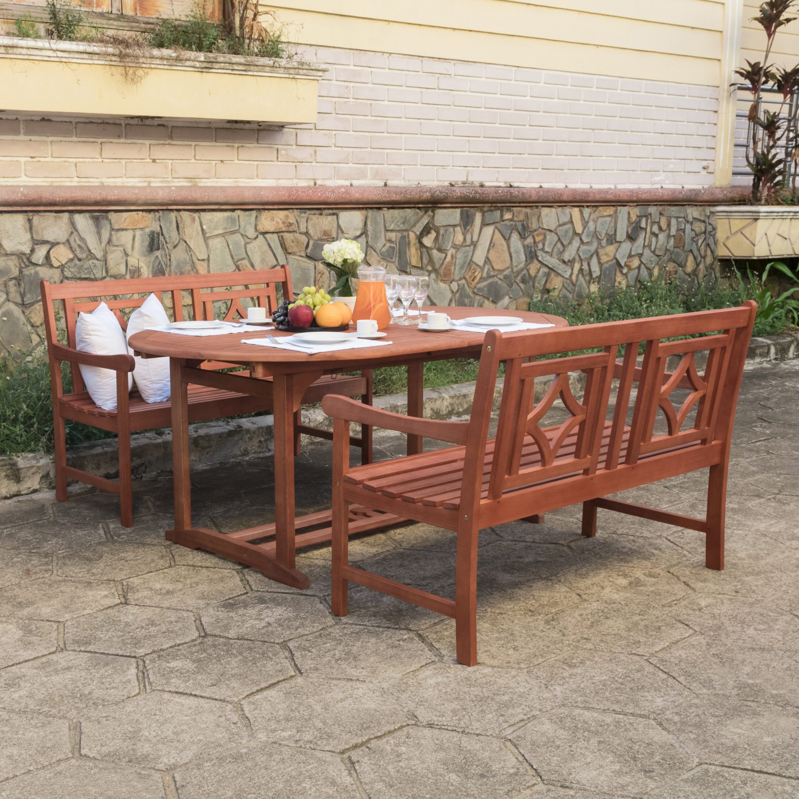 Well Known Amabel Patio Diamond Wooden Garden Benches With Amabel 3 Piece Patio Dining Set (View 10 of 30)