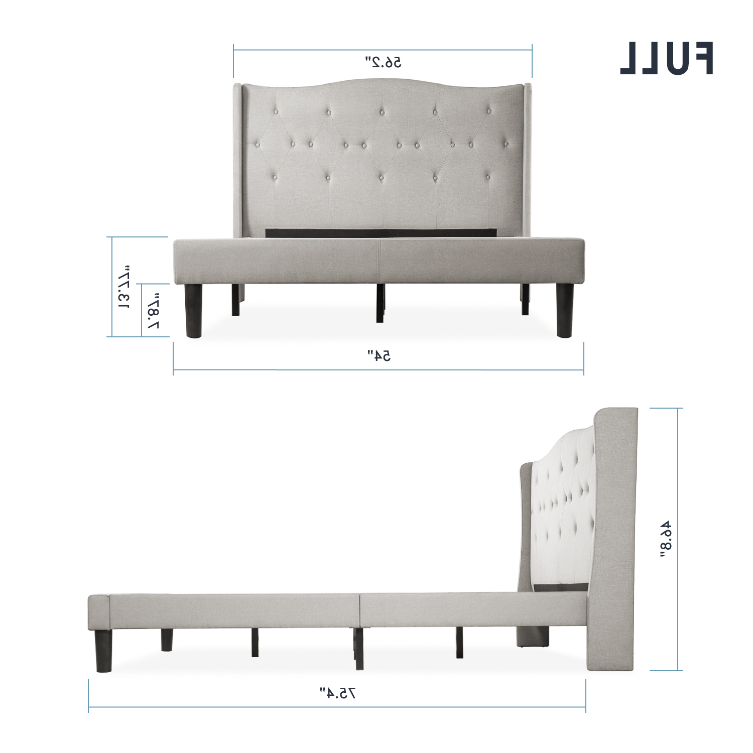 Well Known Amabel Patio Diamond Wooden Garden Benches Within Mellow Amabel Upholstered Platform Bed, Modern Tufted Wingback Headboard, Real Wooden Slats And Legs, Light Grey (View 21 of 30)