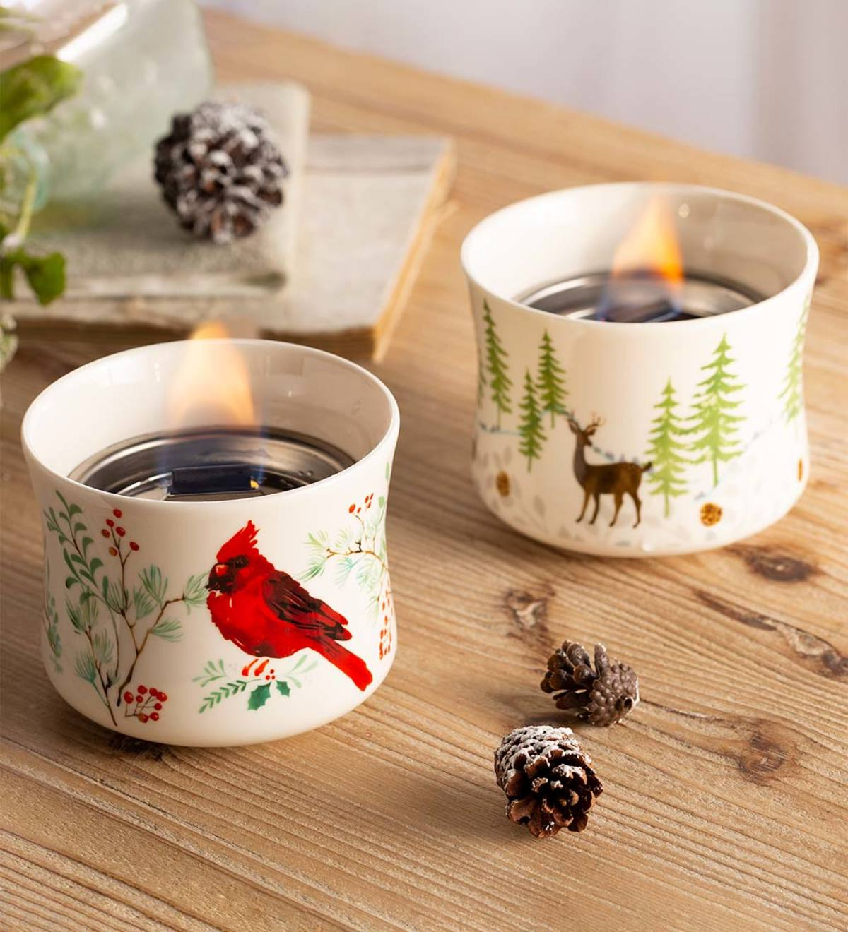 Well Known Cardinal And Deer Holiday Ceramic Oil Candles, Set Of 2 For Carmon Ceramic Garden Tool (View 26 of 30)