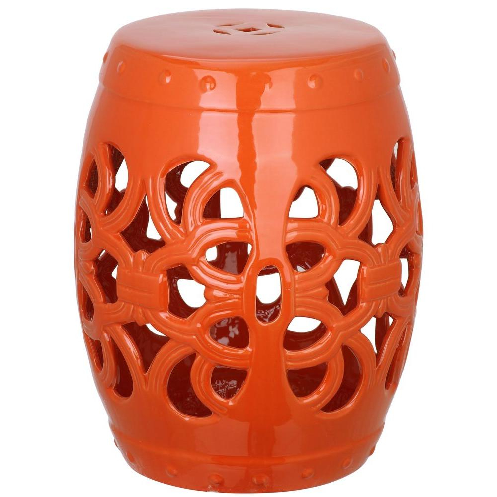 Well Known Ceramic Garden Stools Throughout Safavieh Imperial Vine Orange Ceramic Garden Stool Acs4539d – The Home Depot (View 5 of 30)