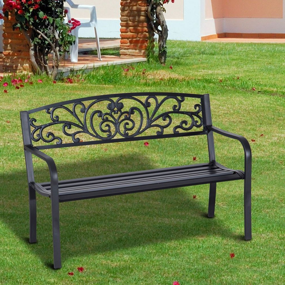 Well Known Garden Patio Bench 2 Seater Cast Iron Tubular Steel Black With Regard To Ismenia Checkered Outdoor Cast Aluminum Patio Garden Benches (View 17 of 30)