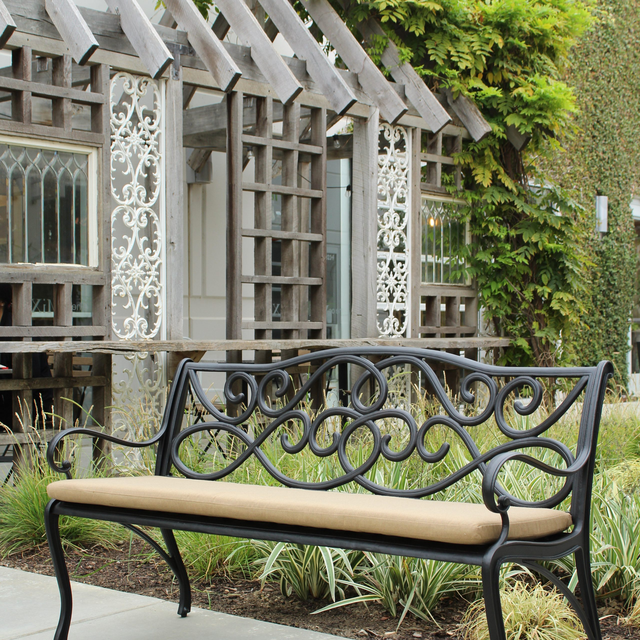 Well Known Kain Classic Scroll Cast Aluminum Park Bench With Ismenia Checkered Outdoor Cast Aluminum Patio Garden Benches (View 6 of 30)