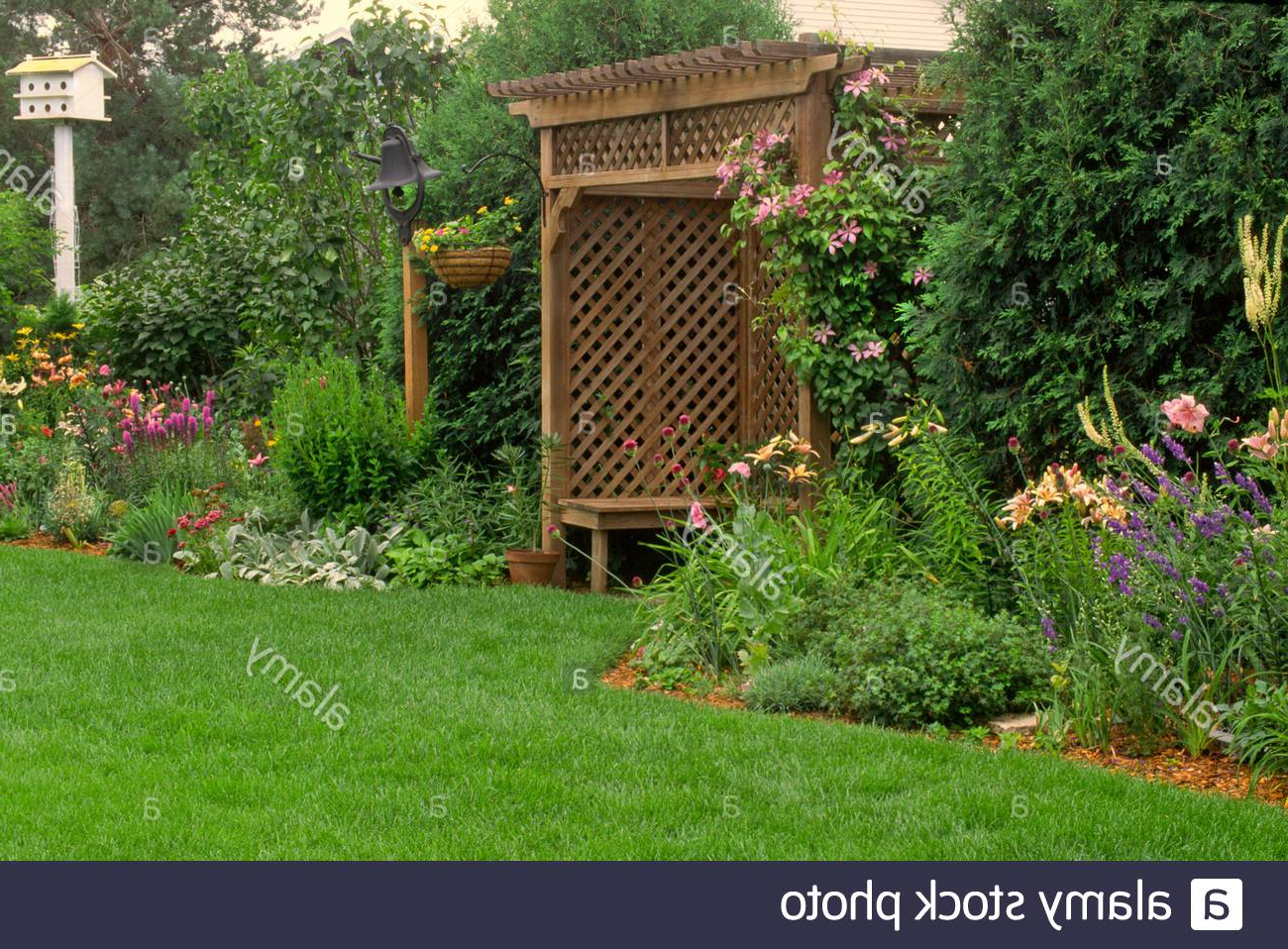 Well Known Lattice Garden High Resolution Stock Photography And Images With Regard To Wiese Cherry Blossom Ceramic Garden Stools (View 20 of 30)