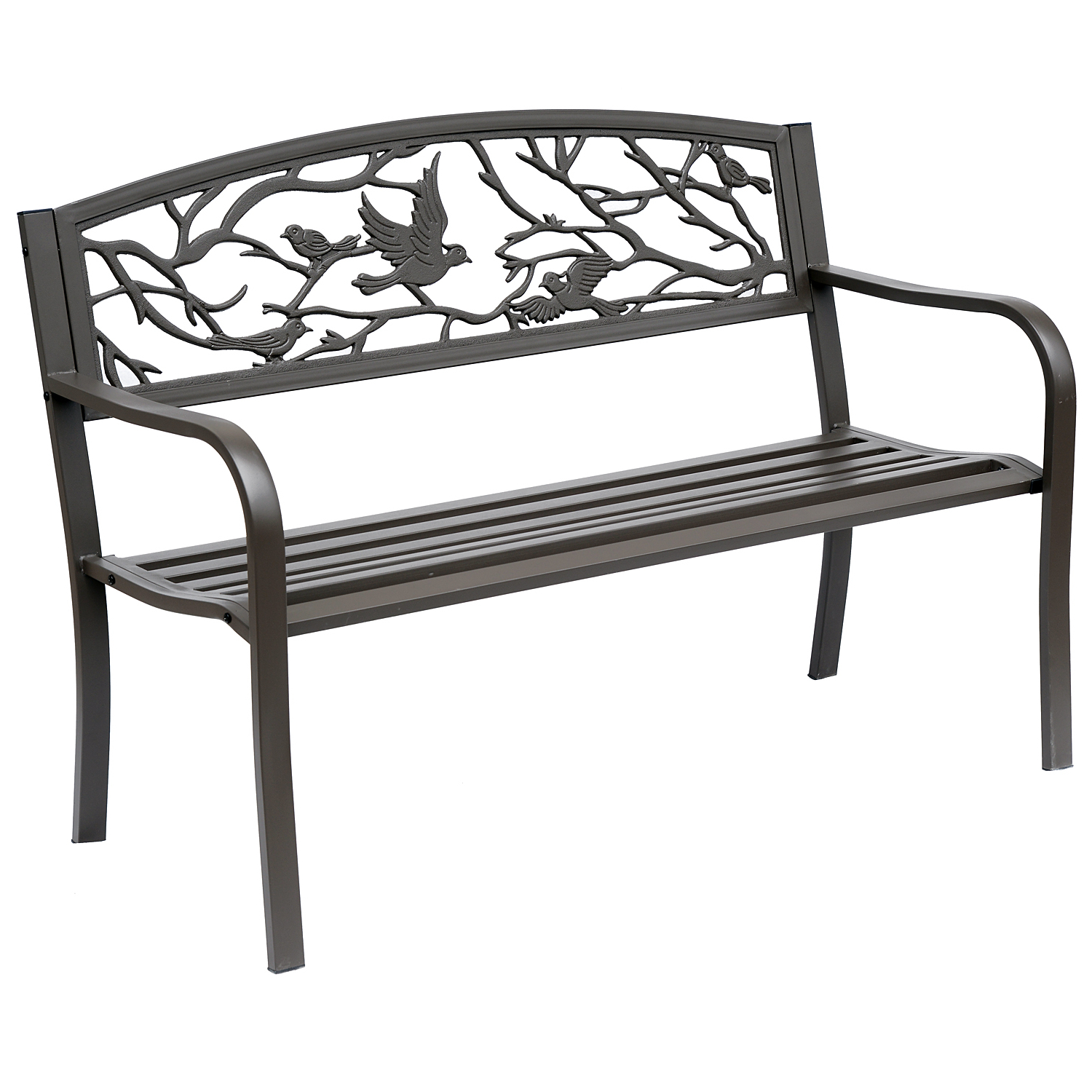 """Well Known Madeline Vintage Bird Cast Iron Garden Benches With Outsunny 50"""" Vintage Bird Pattern Garden Cast Iron Patio Bench – Brown (View 20 of 30)"""
