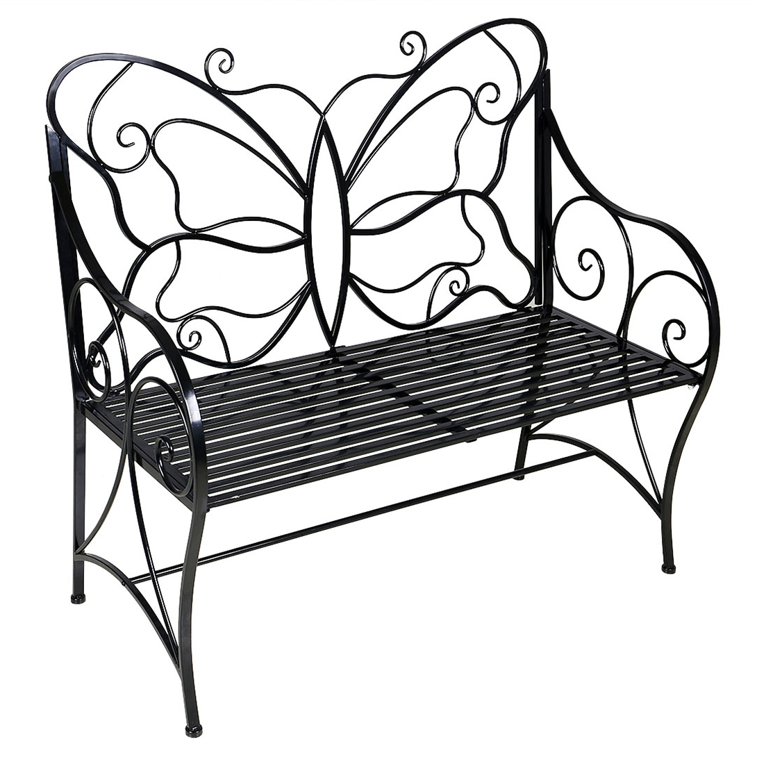 Well Known Metal Antique Outdoor Garden Bench Leisure Butterfly Bench, Black For Caryn Colored Butterflies Metal Garden Benches (View 16 of 30)