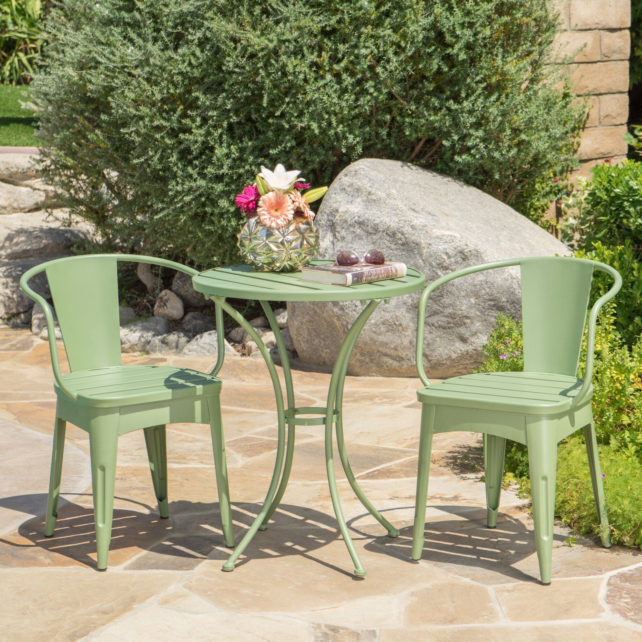 Well Known Montezuma Cast Aluminum Garden Benches With Collins Outdoor 3 Piece Matte Green Iron Bistro Set In (View 20 of 30)
