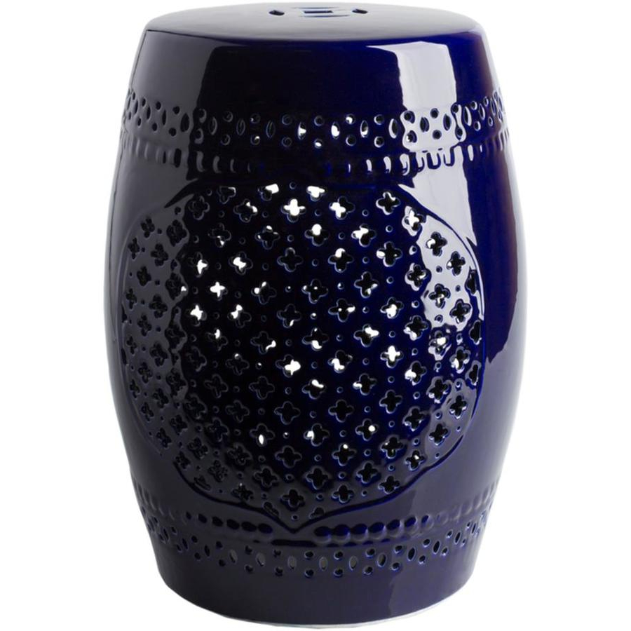 Well Known Surya Auburndale Dark Blue Glass Foot Stool Lowes In Inside Engelhardt Ceramic Garden Stools (View 18 of 30)