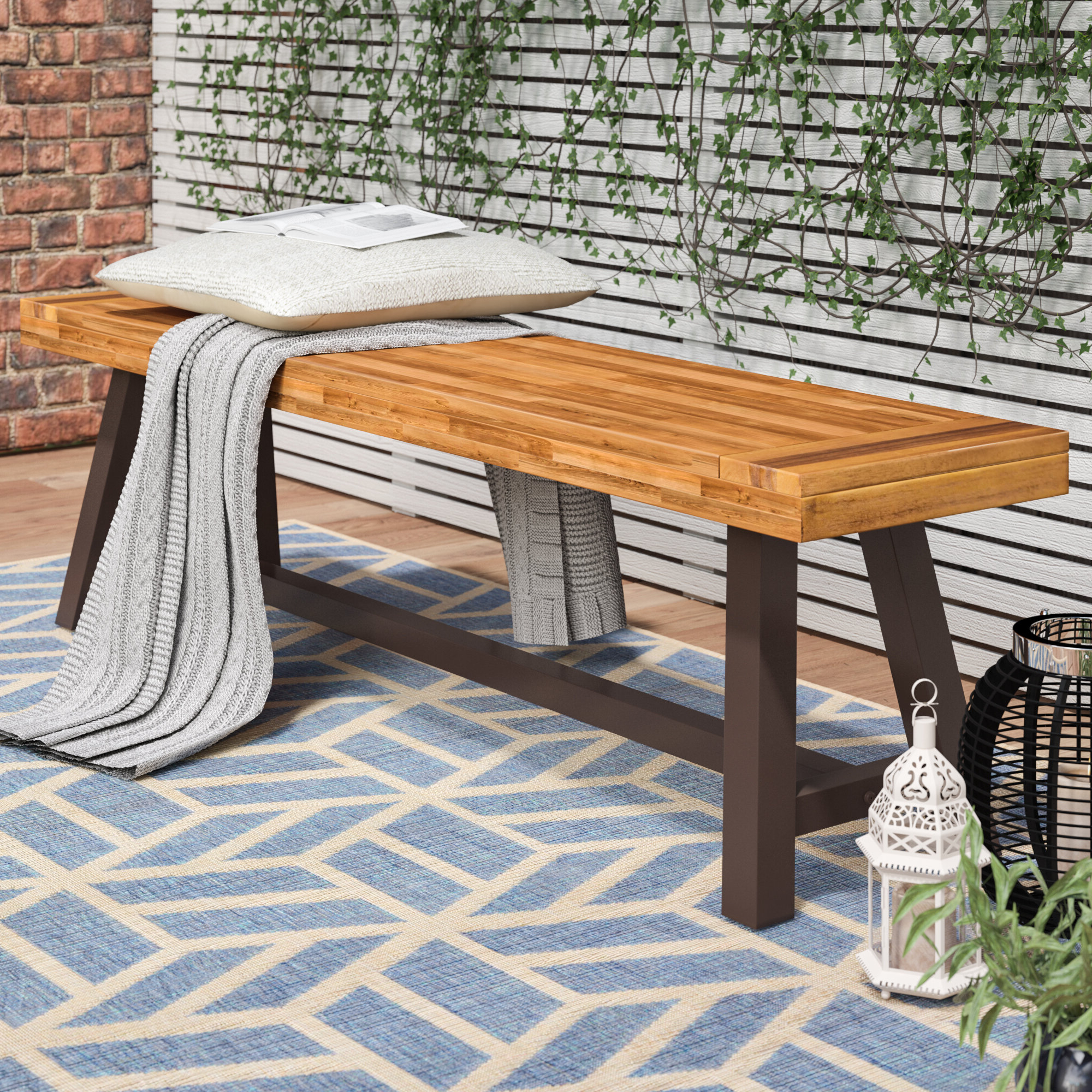 Well Known Trent Austin Design® Mersey Outdoor Wood Picnic Bench & Reviews Regarding Ossu Iron Picnic Benches (View 7 of 30)