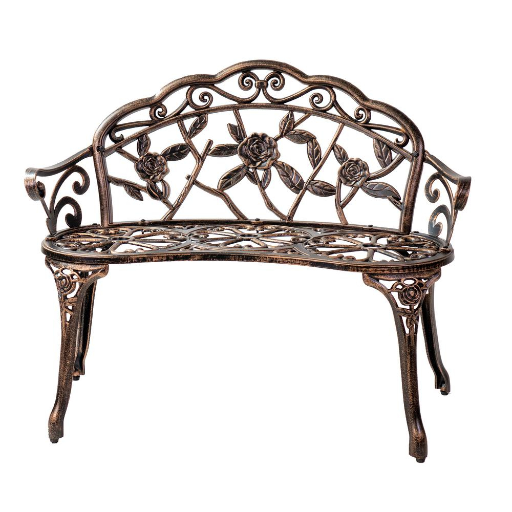 Well Known Unbranded Patio Premier Bronze Metal Outdoor Park Bench 243053 – The Home Depot Throughout Blooming Iron Garden Benches (View 17 of 30)
