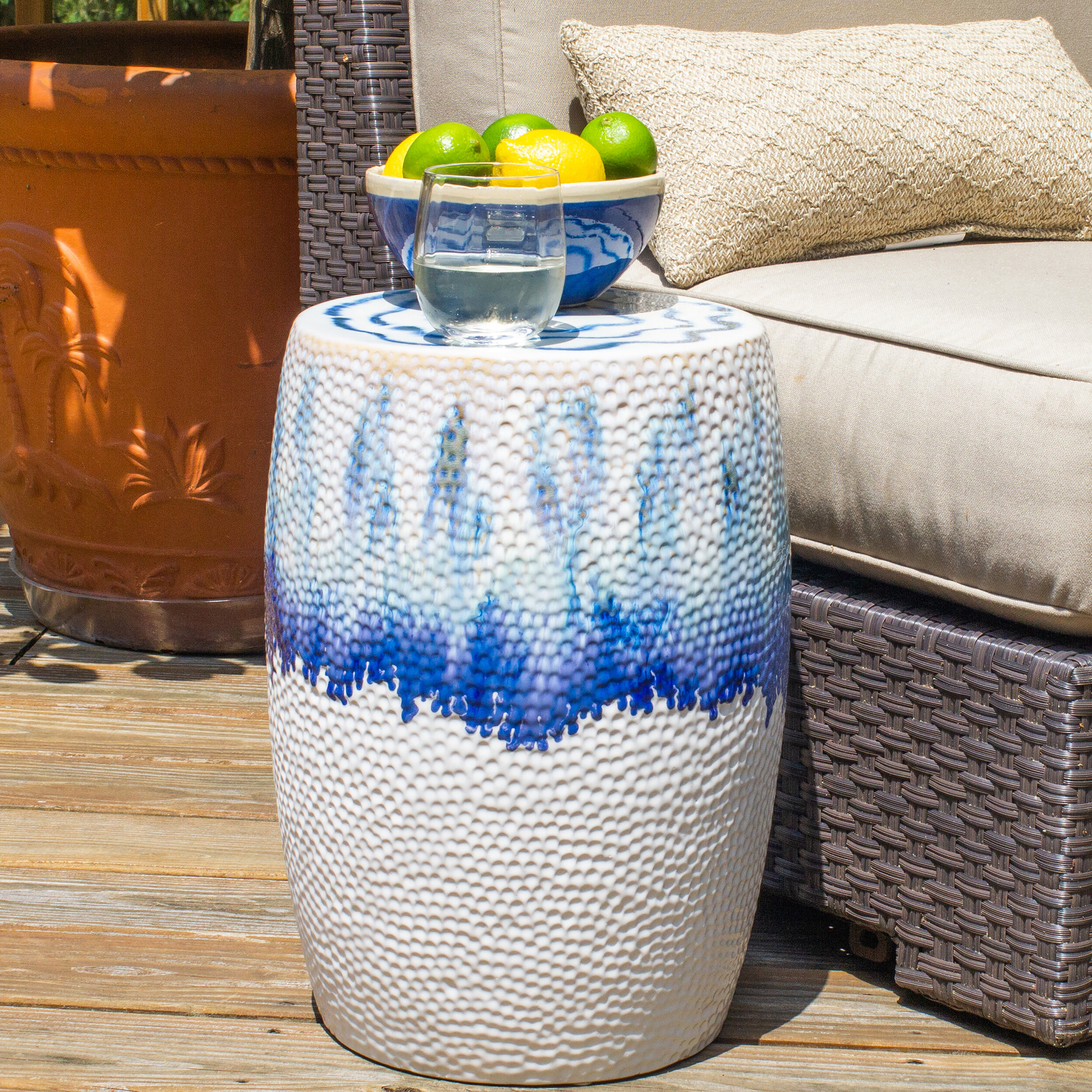 Well Known Wurster Ceramic Drip Garden Stool Intended For Jadiel Ceramic Garden Stools (View 12 of 30)
