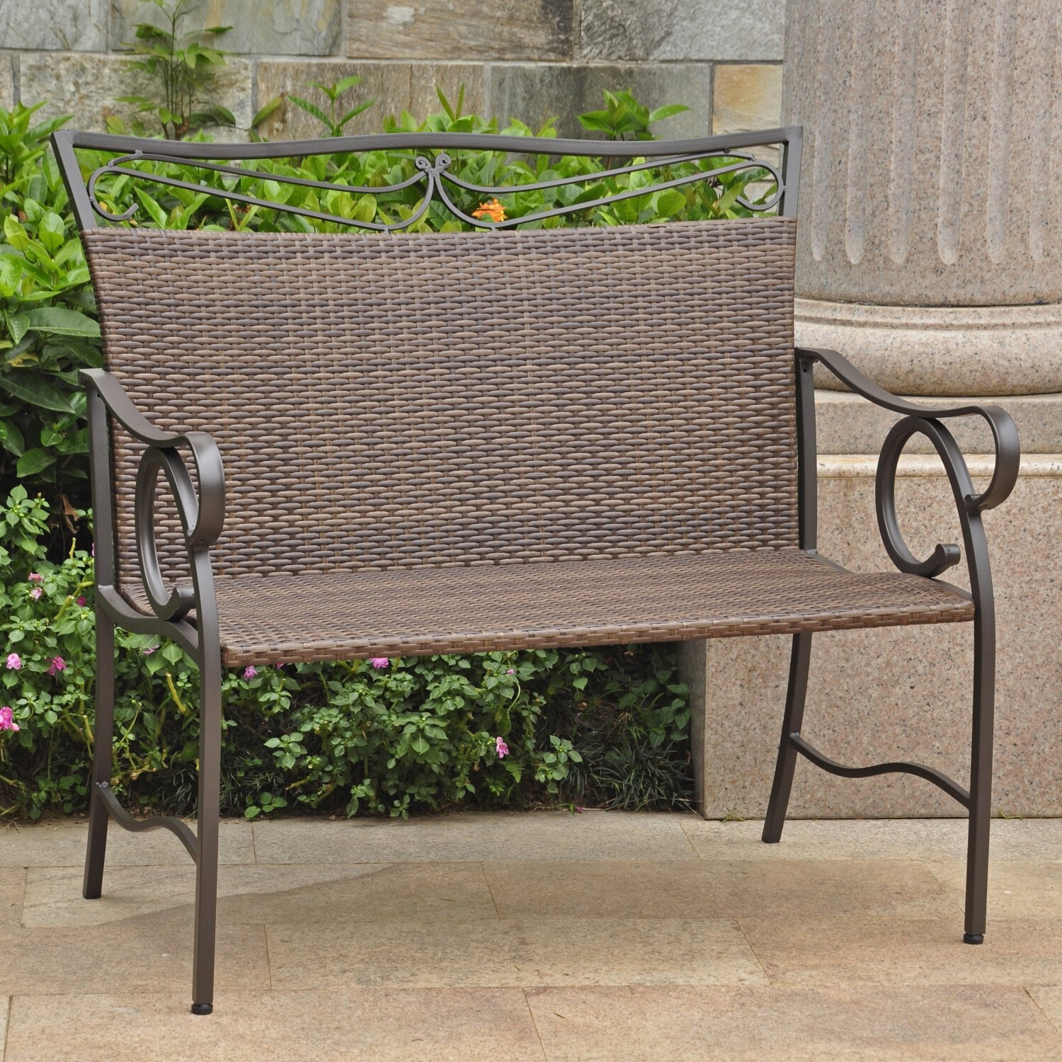 Well Liked Lublin Wicker Tete A Tete Benches With Regard To Stapleton Iron Wicker Resin Garden Bench (View 22 of 30)