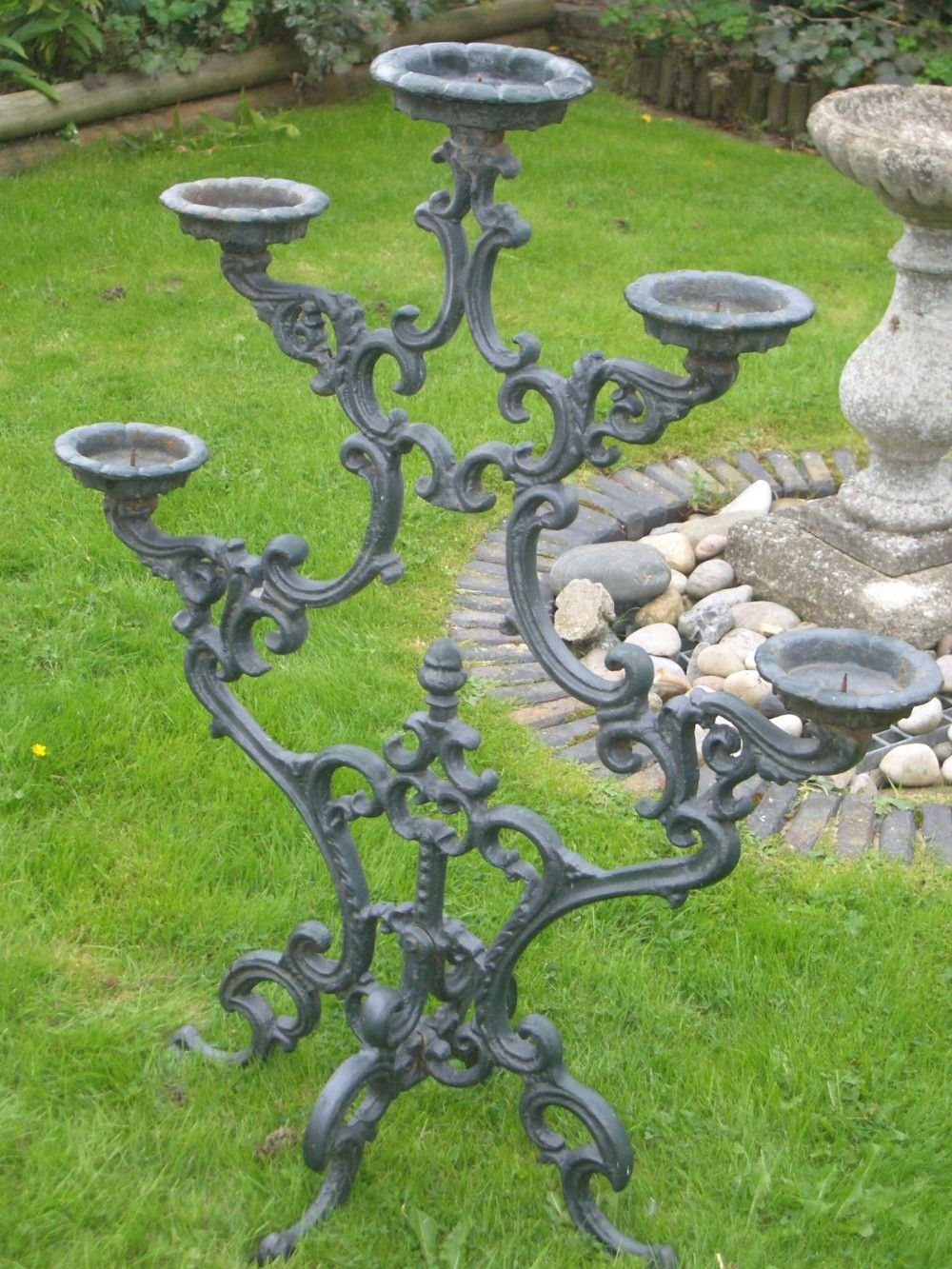 Well Liked Madeline Vintage Bird Cast Iron Garden Benches Throughout Huge Antique Five Branch Cast Iron Candelabra 1910 (View 24 of 30)