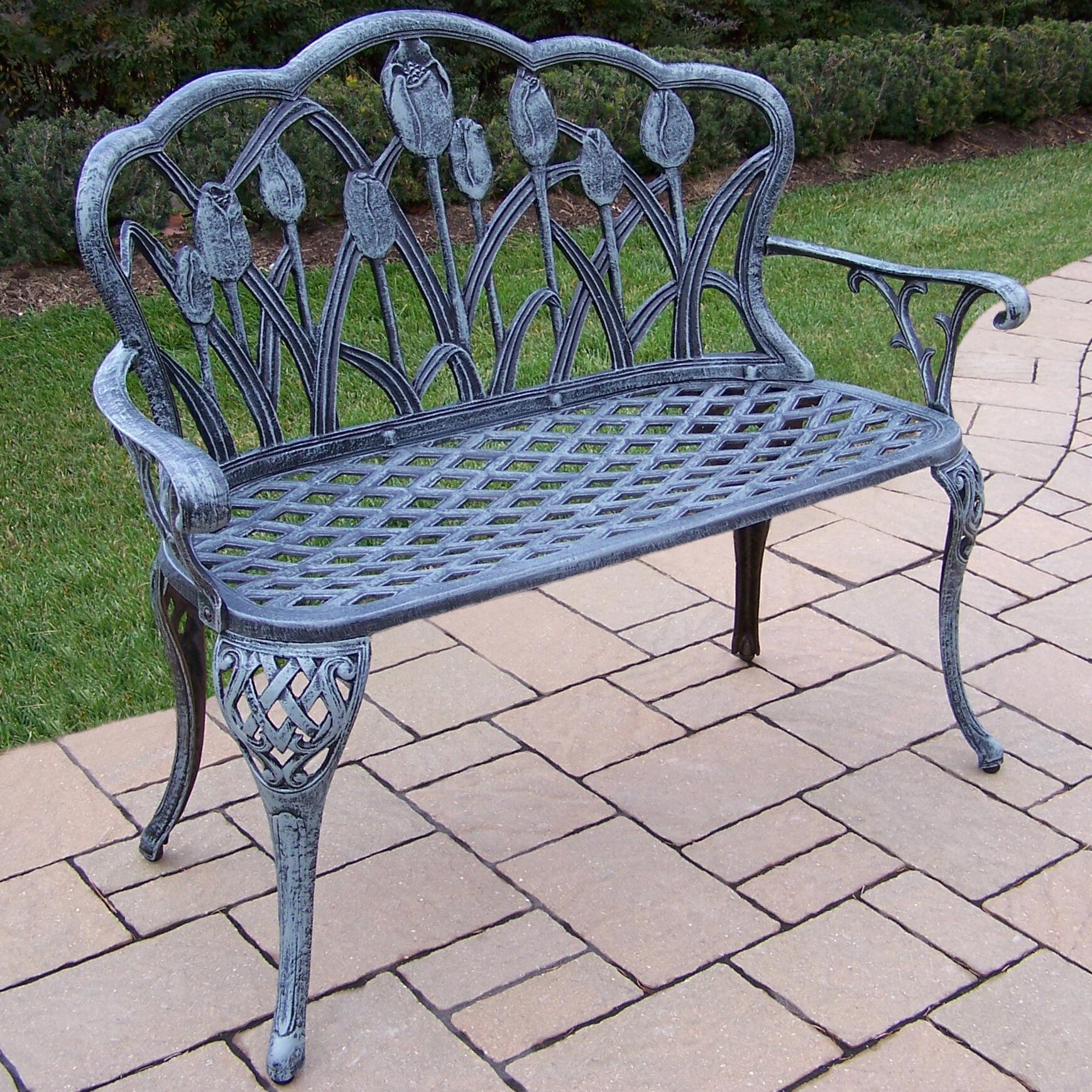 Well Liked Montezuma Cast Aluminum Garden Benches Within Farrior Aluminum Garden Bench (View 6 of 30)