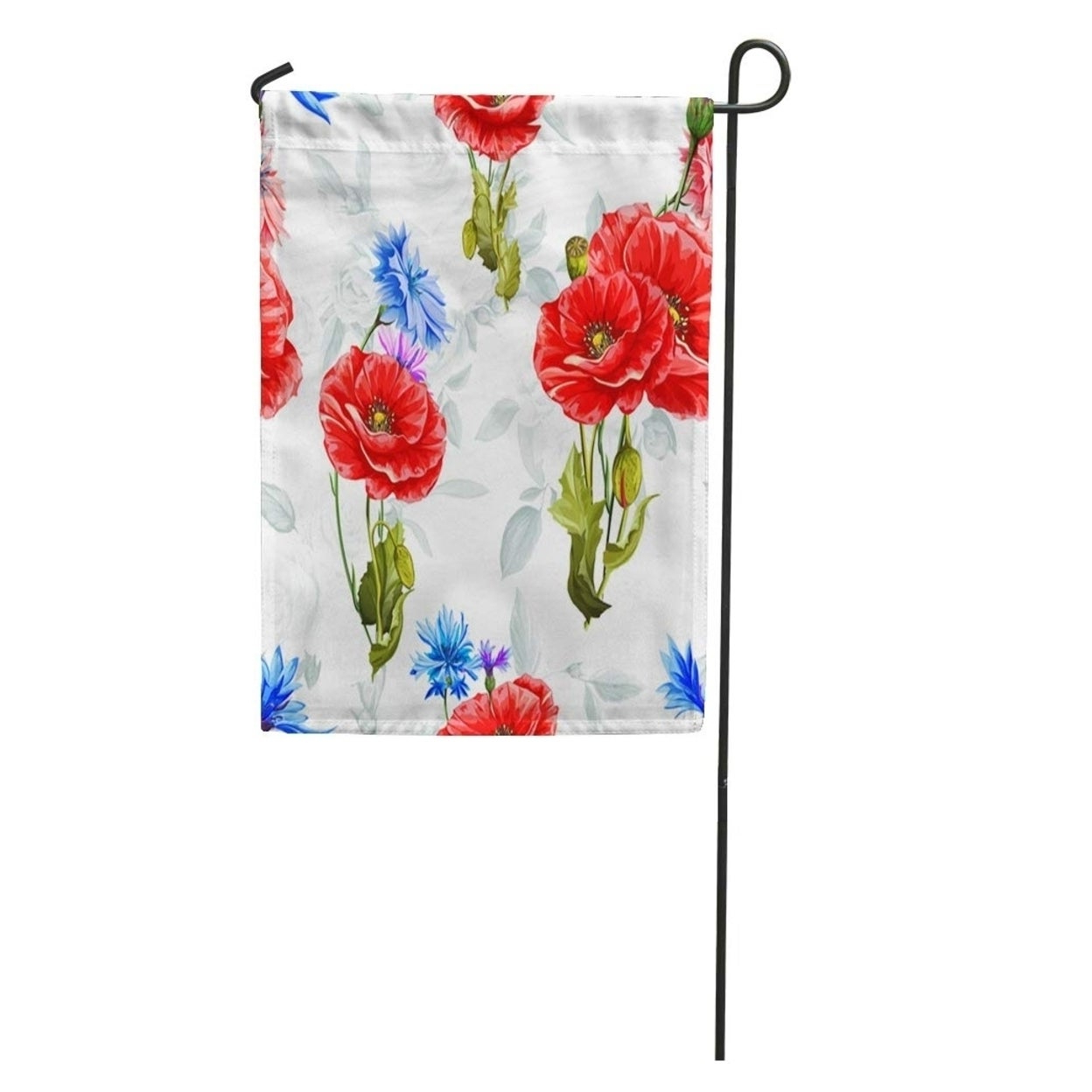 Well Liked Watercolor Poppy Cornflowers And Roses On Pattern Of Flowers Blue Garden Flag Decorative Flag House Banner 28x40 Inch Inside Wilde Poppies Ceramic Garden Stools (View 21 of 30)