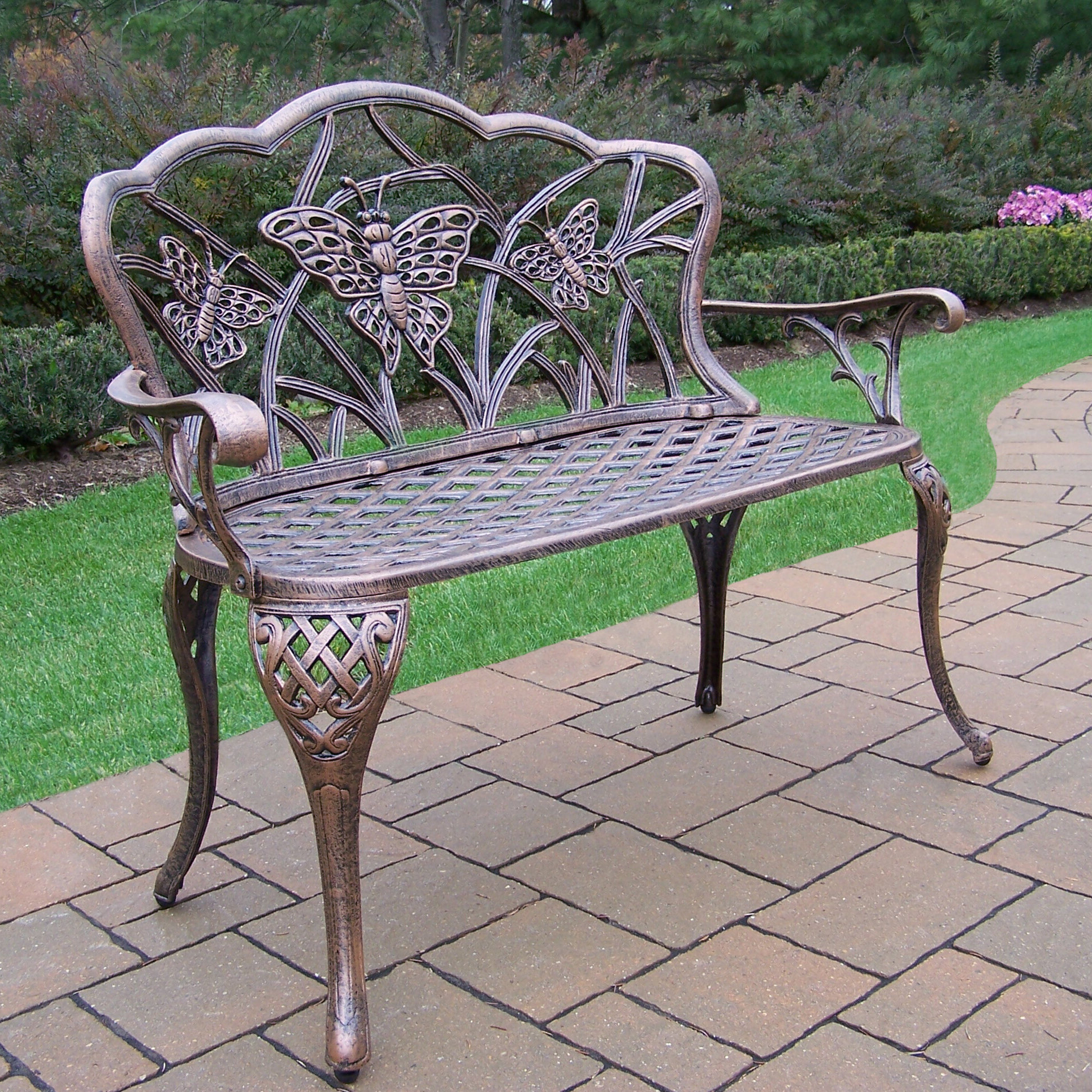 Wensley Aluminum Garden Bench Throughout Current Caryn Colored Butterflies Metal Garden Benches (View 21 of 30)