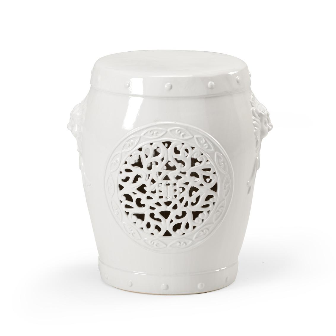 White Ceramic Stool, Garden (View 30 of 30)