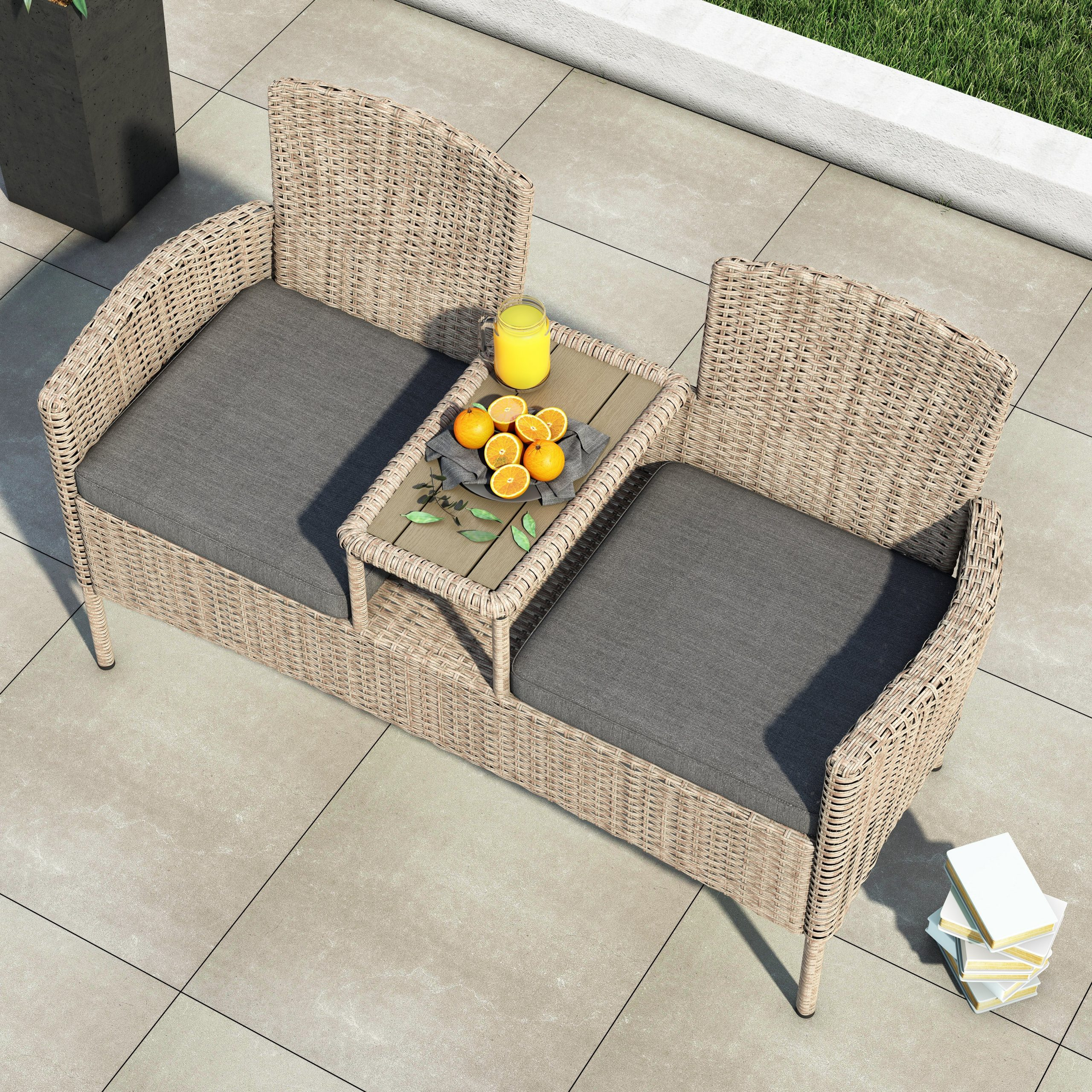 Wicker Tete A Tete Bench With 2019 Lublin Wicker Tete A Tete Benches (View 4 of 30)