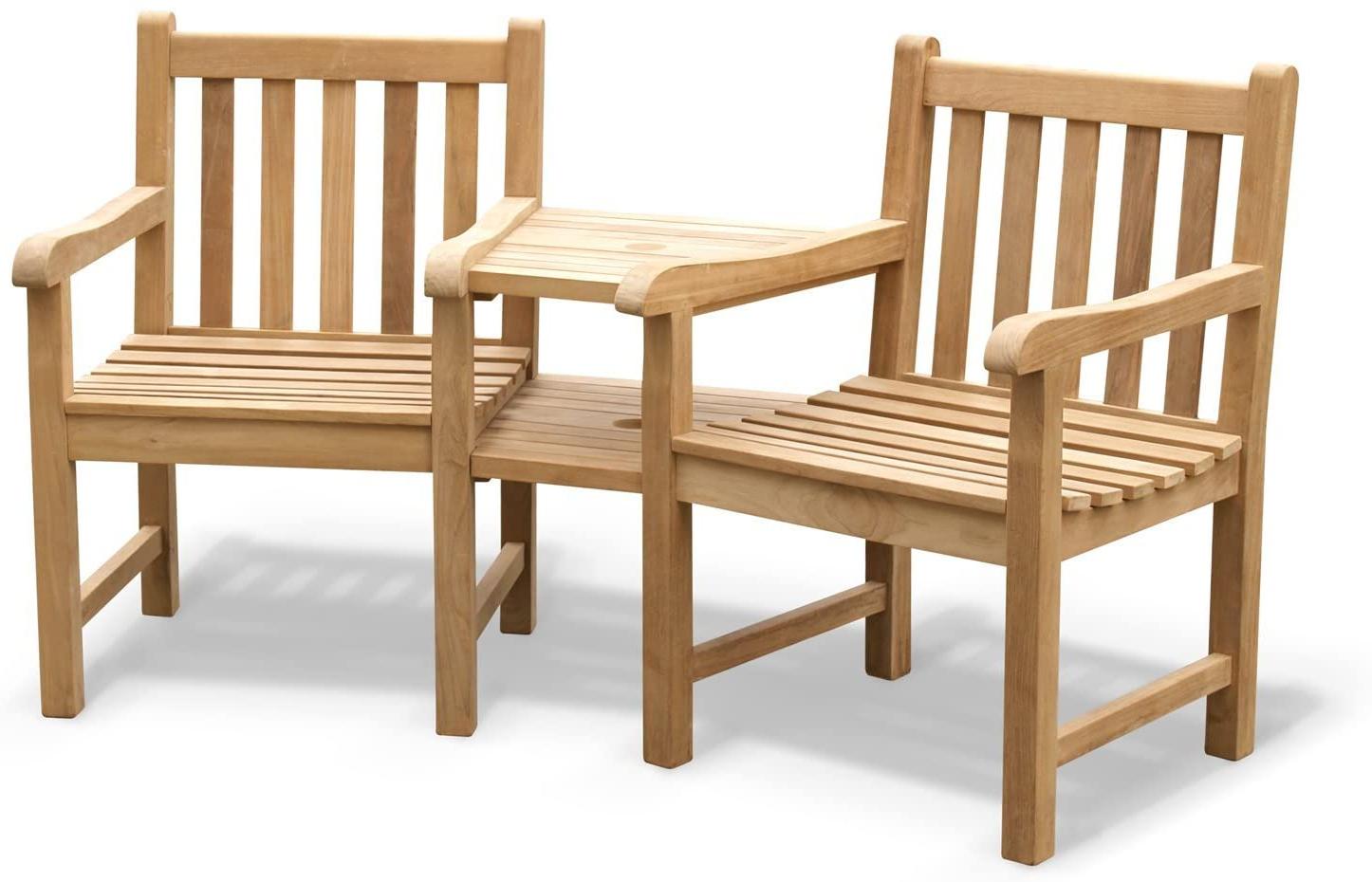 Wicker Tete A Tete Benches In Popular Jati York Teak Love Seat – Tete A Tete Companion Bench Brand (View 26 of 30)
