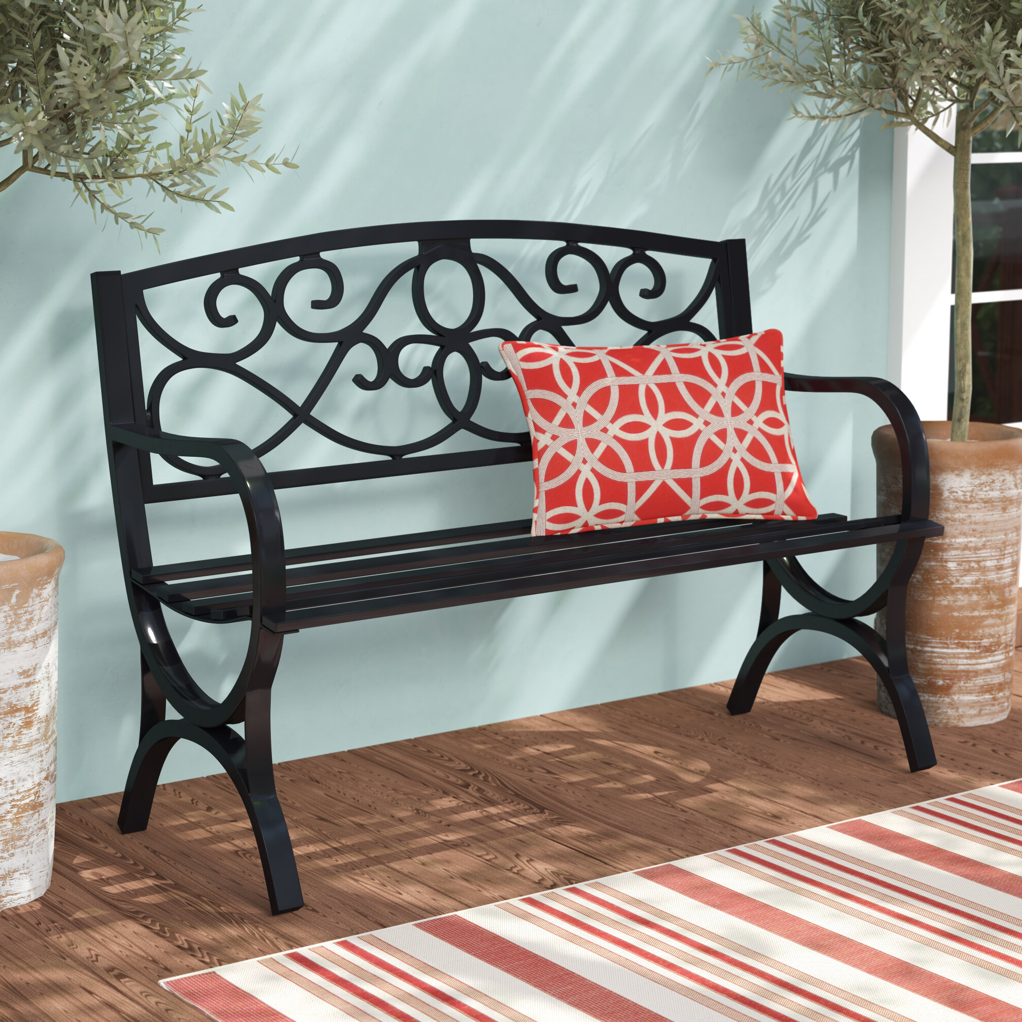 Widely Used Gehlert Traditional Patio Iron Garden Benches In Black Garden Outdoor Benches You'll Love In (View 24 of 30)
