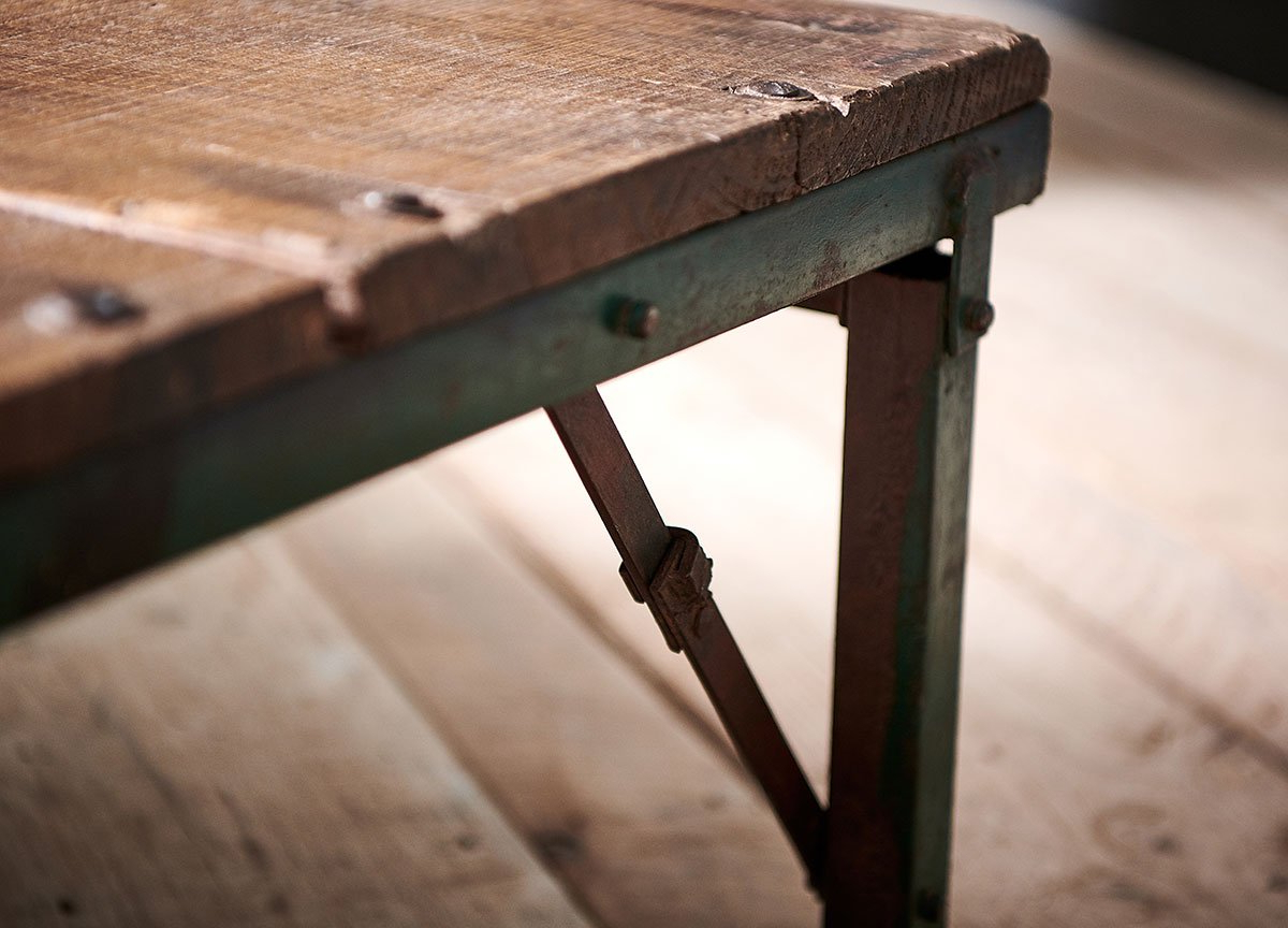 Widely Used Ishan Steel Park Benches In Ishan Reclaimed Folding Dining/coffee Table (View 25 of 30)