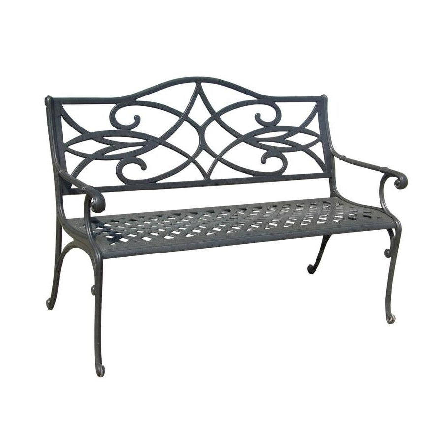 Widely Used Ismenia Checkered Outdoor Cast Aluminum Patio Garden Benches In Aluminum Patio Benches At Lowes (View 26 of 30)