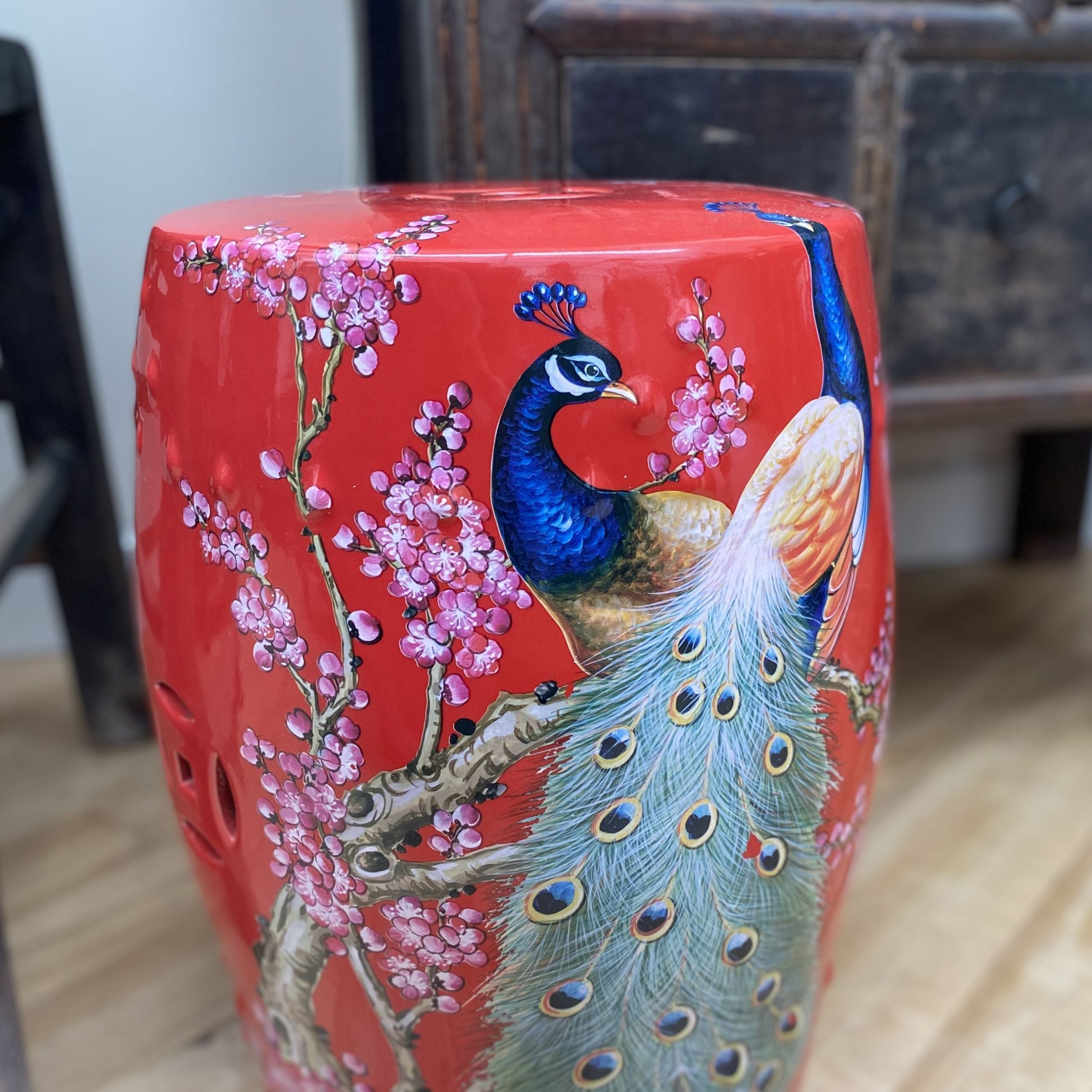 Widely Used Maci Tropical Birds Garden Stools Within Red Ceramic Stool With Peacocks In (View 11 of 30)