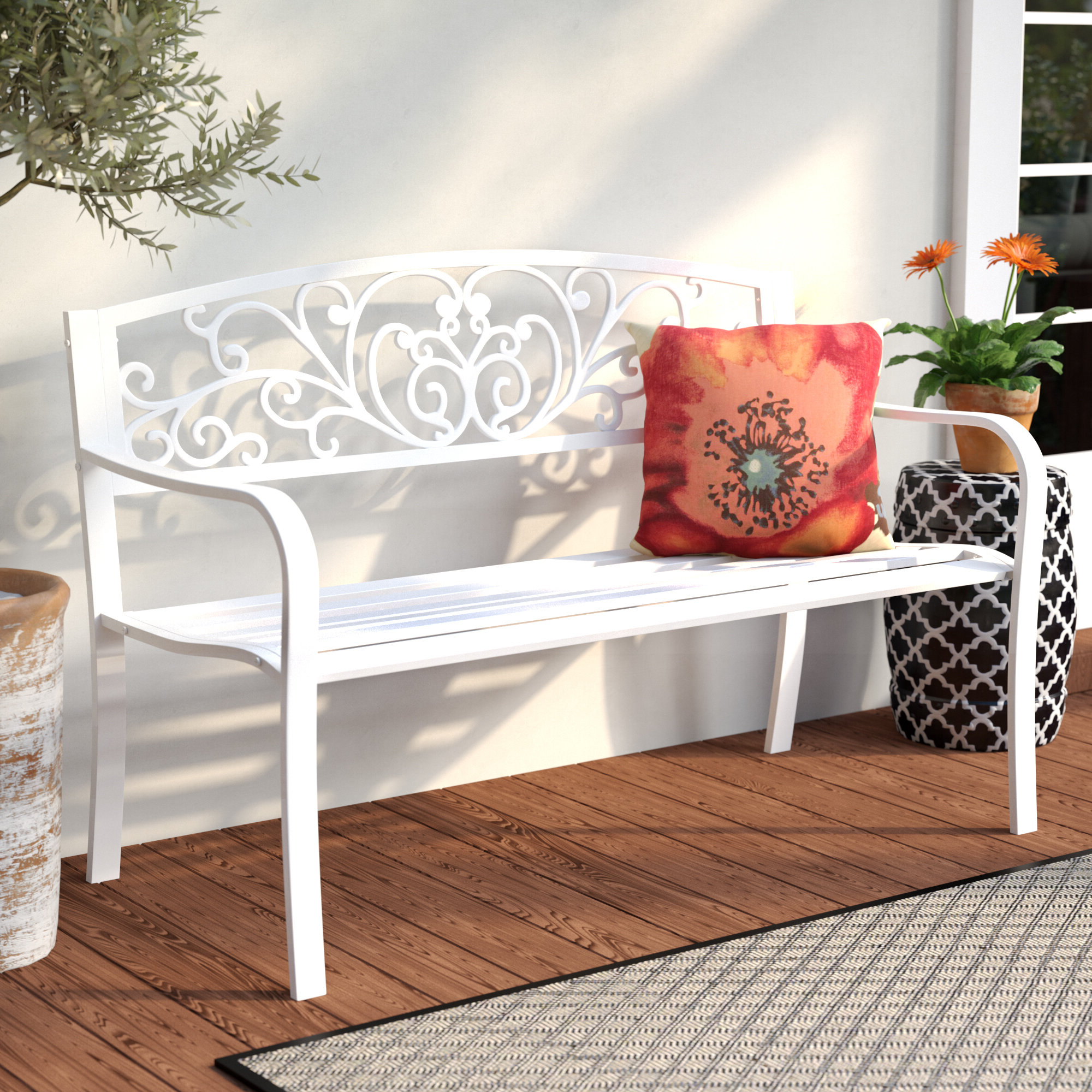 Widely Used Strasburg Blossoming Decorative Iron Garden Benches Pertaining To Carennac Scroll Backrest Iron Garden Bench (View 3 of 30)