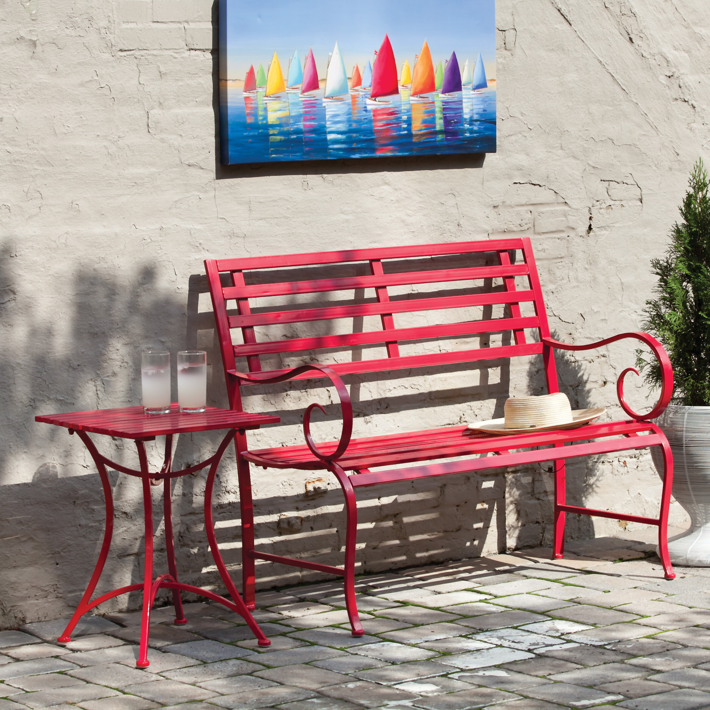 Widely Used Zev Blue Fish Metal Garden Benches Pertaining To Harding Garden Bench (View 7 of 30)