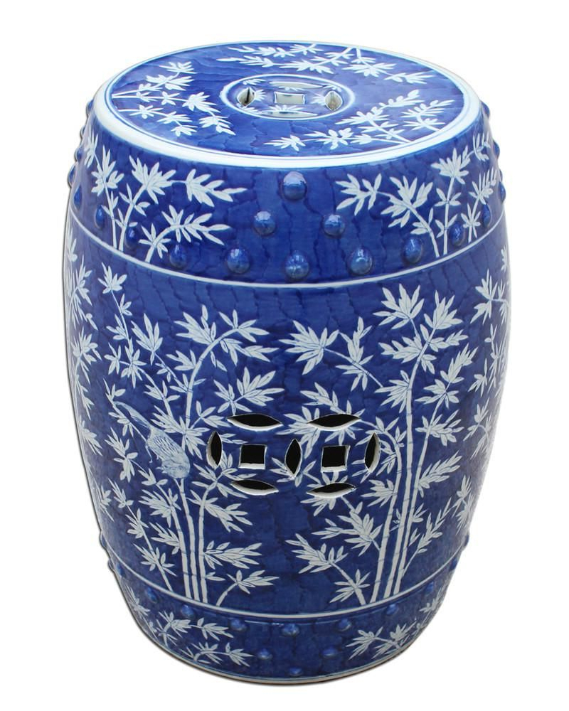 Williar Cherry Blossom Ceramic Garden Stools Inside 2020 White Bamboo On A Cobalt Blue Background Makes A Gorgeous (View 23 of 30)