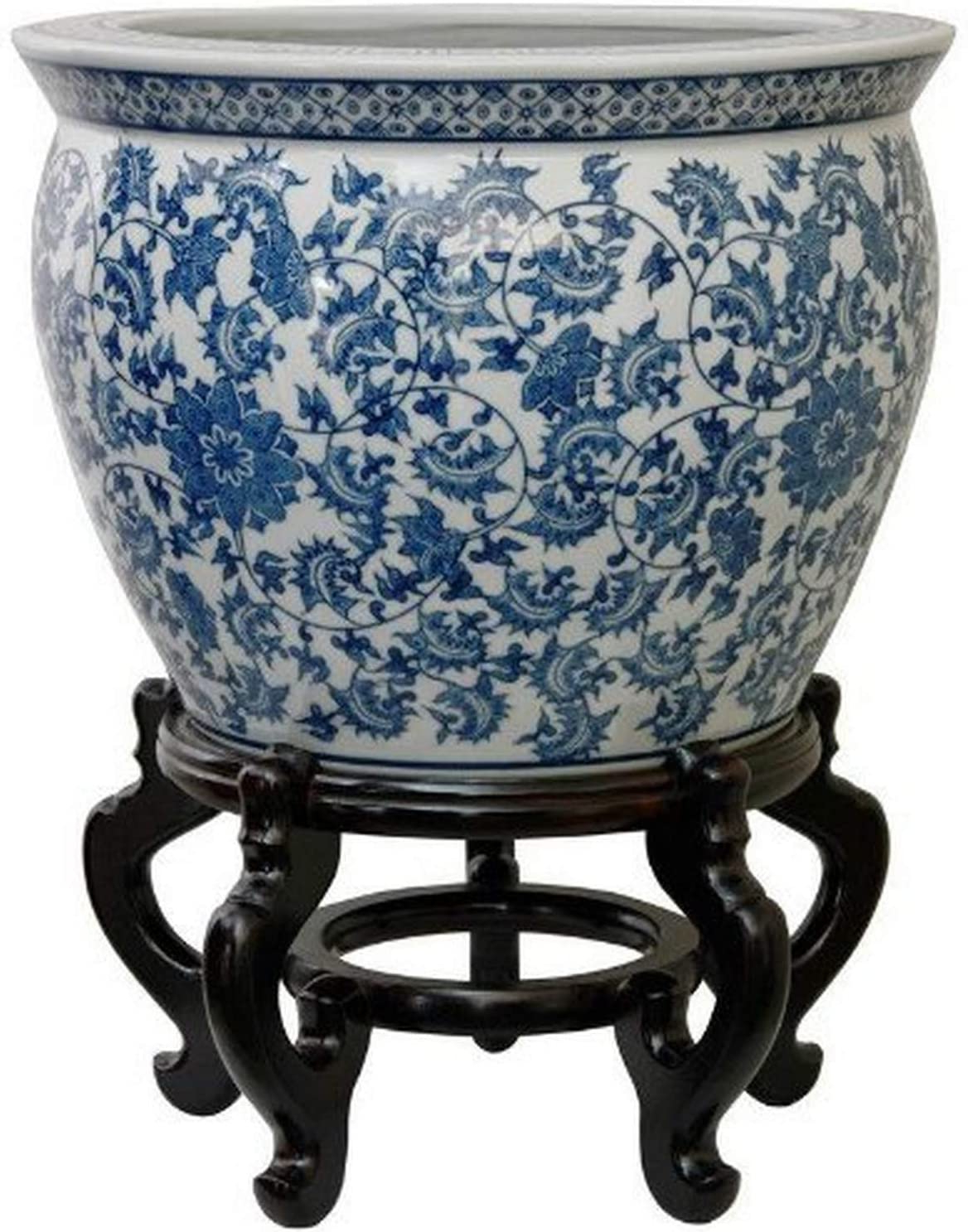 "Williar Cherry Blossom Ceramic Garden Stools Inside Recent Oriental Furniture 16"" Floral Blue & White Porcelain Fishbowl (View 22 of 30)"
