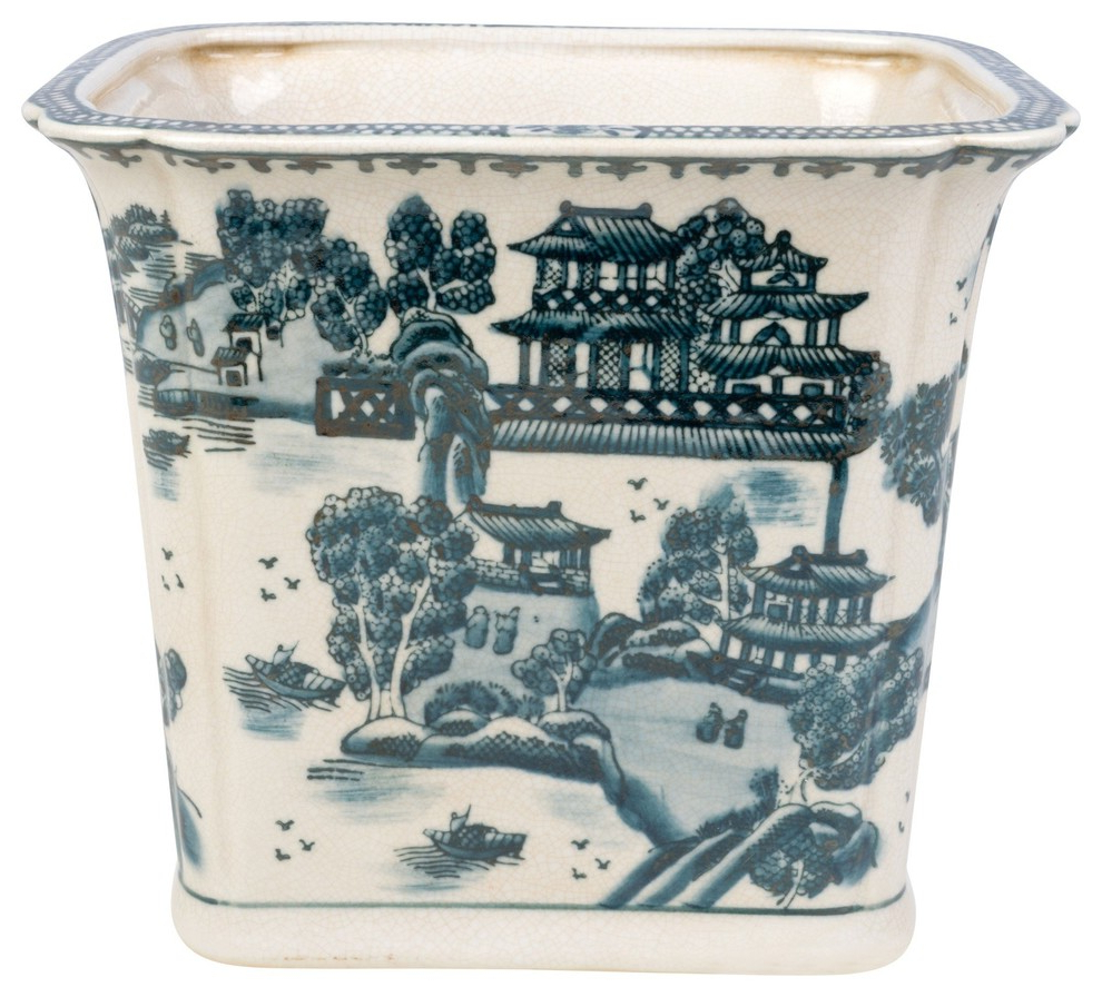 Williar Cherry Blossom Ceramic Garden Stools Intended For 2020 Blue And White Blue Willow Square Porcelain Rectangular Pot (View 24 of 30)