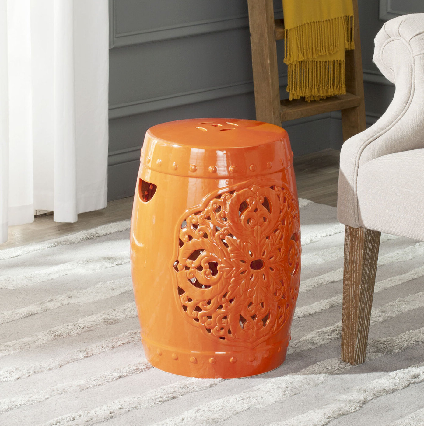 Winterview Garden Stools Within 2019 Three Posts Nagle Ceramic Garden Stool (View 29 of 30)