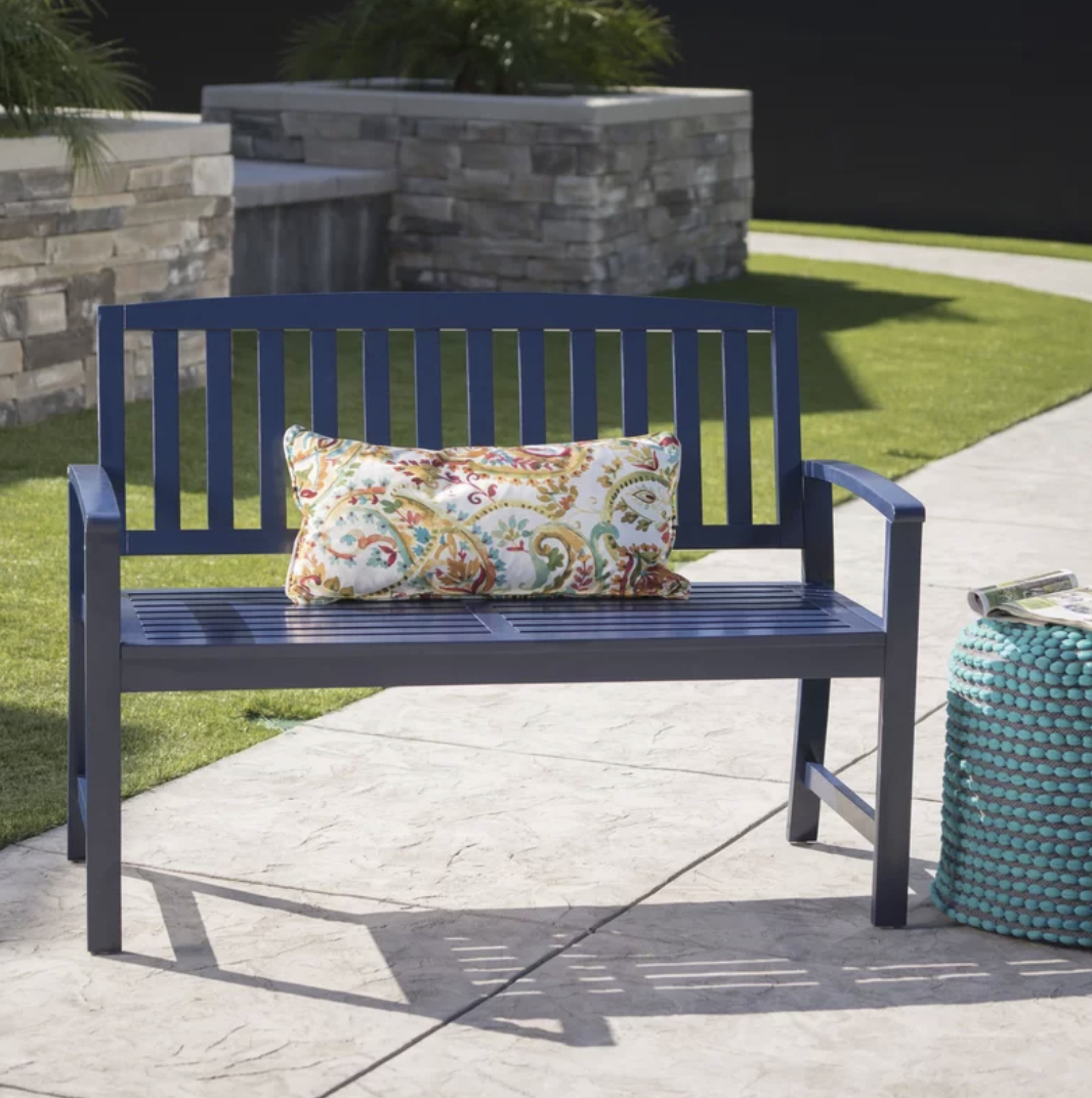 Wooden Garden Benches, Blue Intended For Leora Wooden Garden Benches (View 5 of 30)