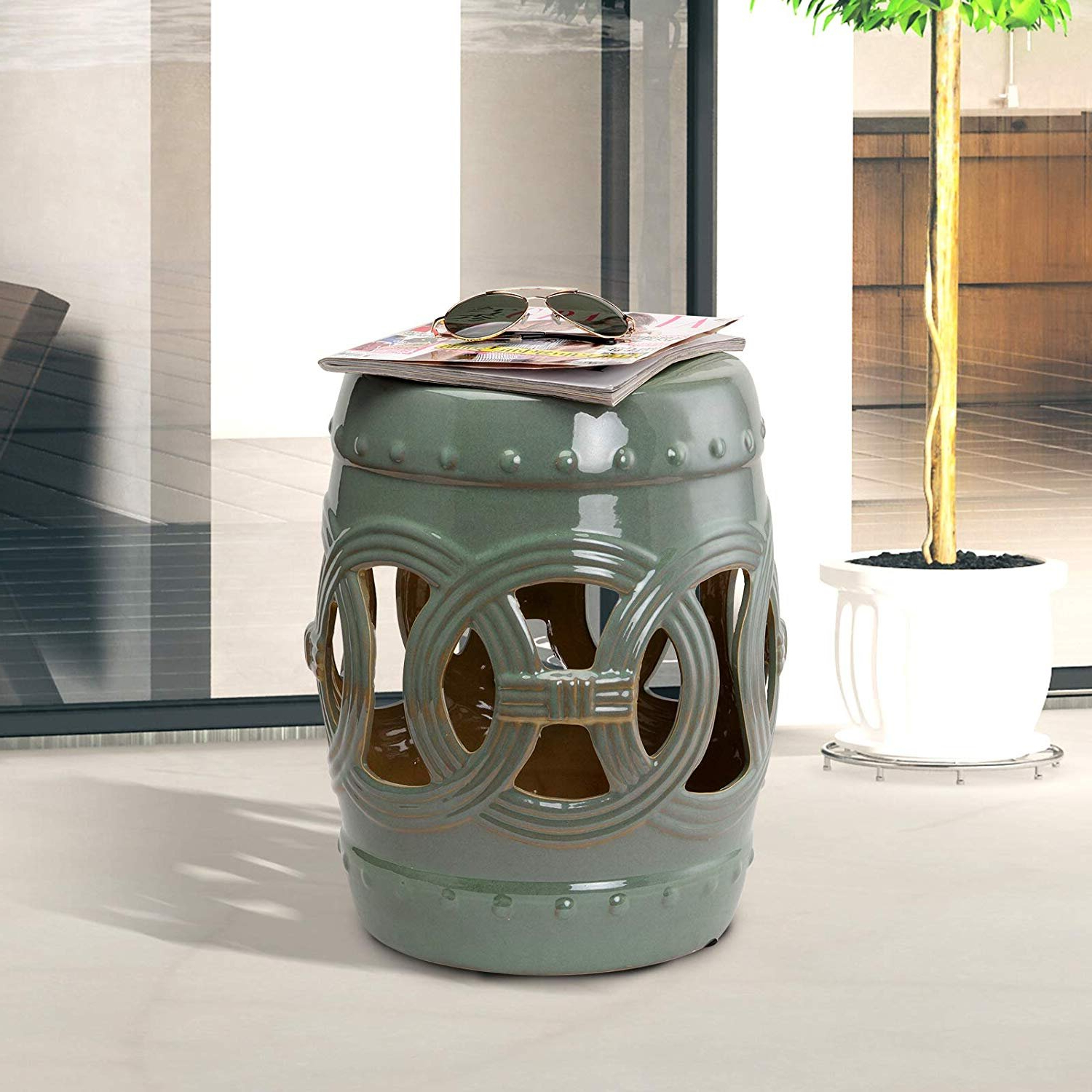 Wurster Ceramic Drip Garden Stools For Popular Blue & Green Garden Stools You'll Love In (View 13 of 30)