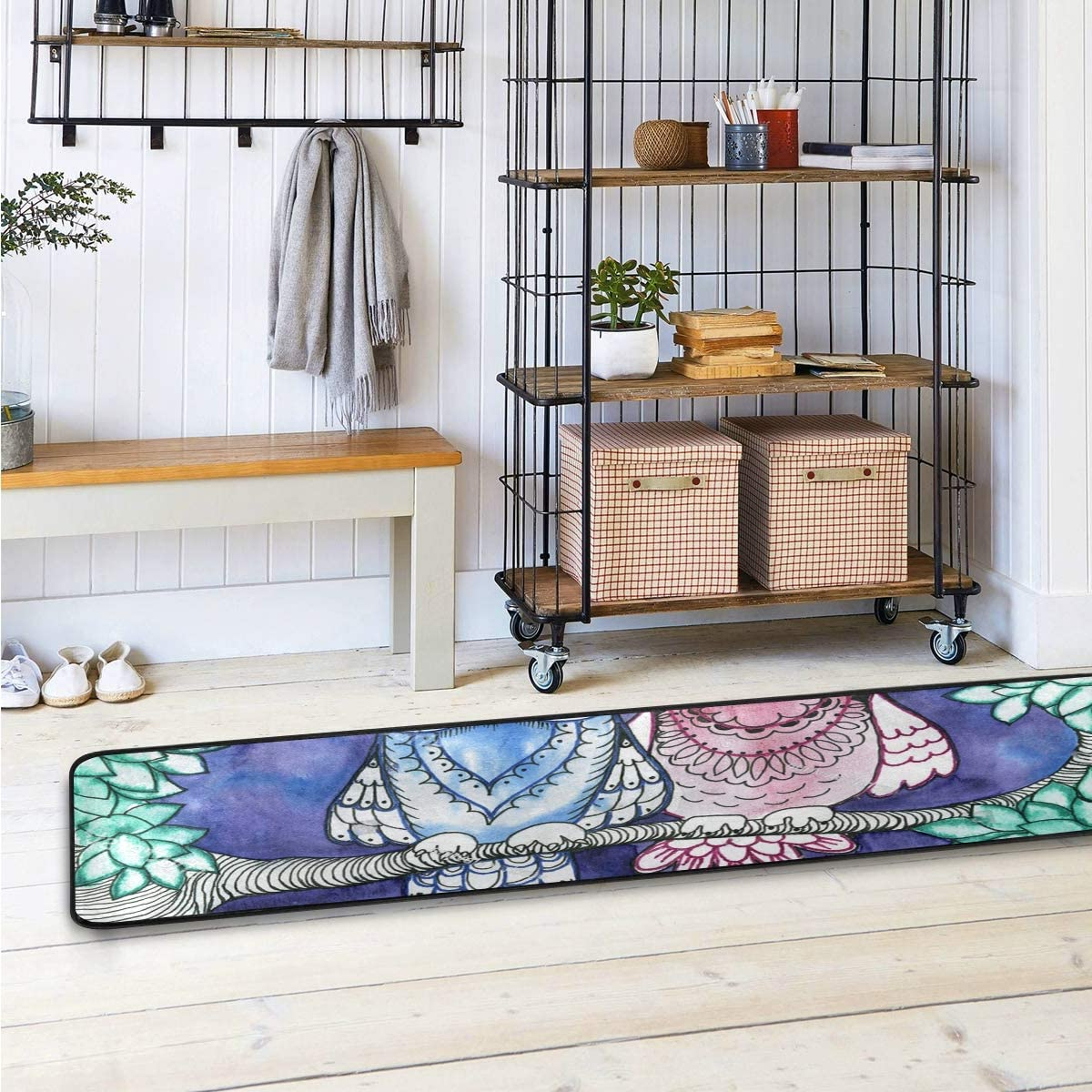 Zev Blue Fish Metal Garden Benches Regarding Widely Used Amazon: Slhfpx Area Rug Runner Painting Owl Bird Tree (View 16 of 30)