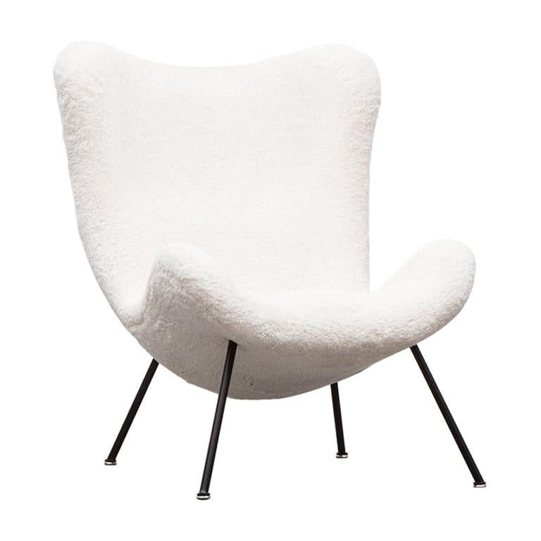 1950s White Faux Fur On Black Metal Legs Lounge Chairfritz Neth 'a' In Most Popular Lounge Chairs With Metal Leg (View 14 of 30)