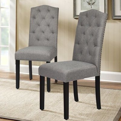 2019 Alwillie Tufted Back Barrel Chairs Throughout Assa Tufted Linen Upholstered Parsons Chair Upholstery Color: Gray (View 6 of 30)