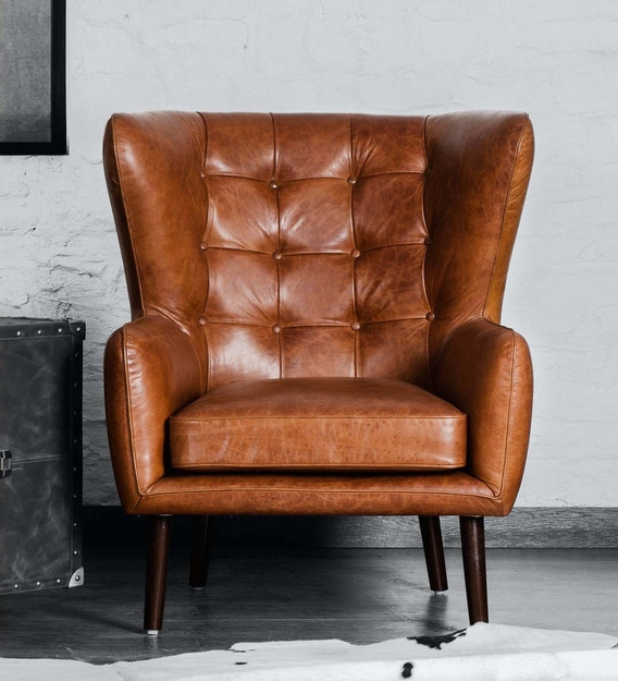 2019 Dorcaster Barrel Chairs Inside Dorchester Wing Chair In Vintage Brown Colour (View 8 of 30)