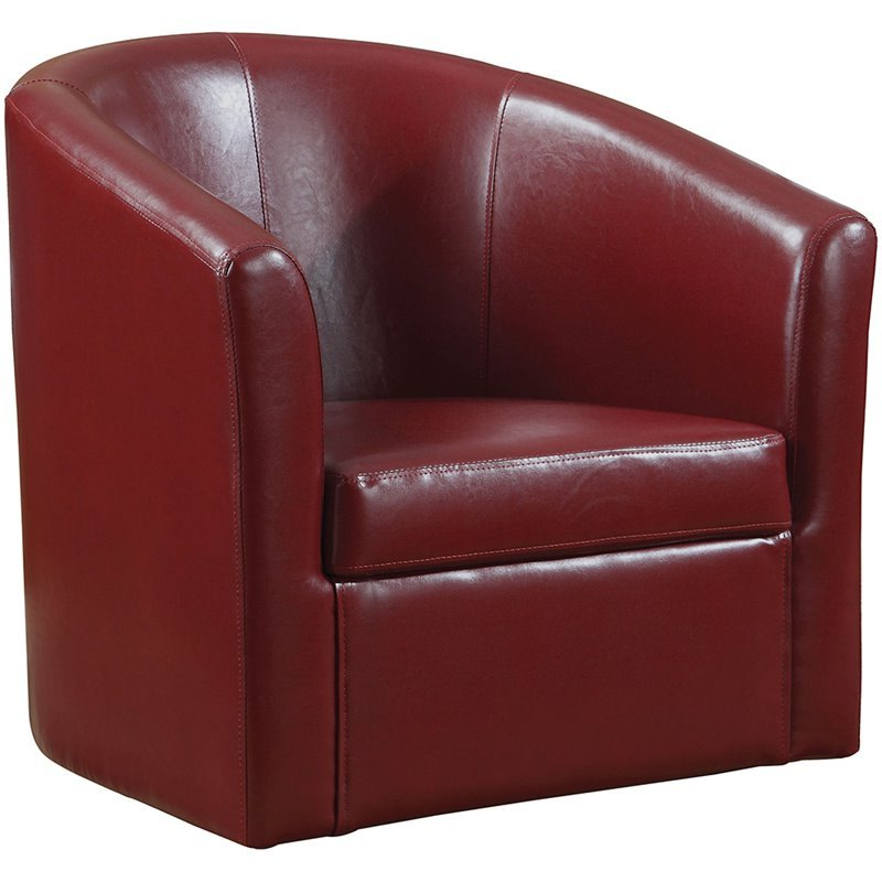2019 Faux Leather Barrel Chairs Throughout Coaster Faux Leather Swivel Barrel Back Accent Chair In Red (View 10 of 30)