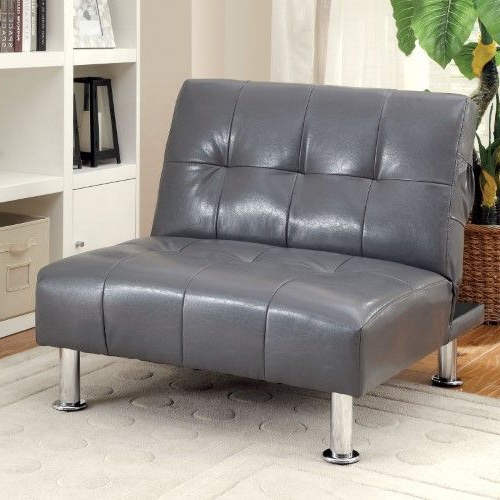 2019 Furniture Of America Dunbar Convertible Chair With Button In Perz Tufted Faux Leather Convertible Chairs (View 8 of 30)