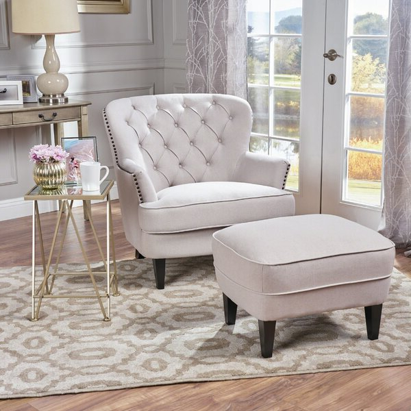 2019 Harmon Cloud Barrel Chairs And Ottoman Throughout Gray Chair And Ottoman (View 12 of 30)