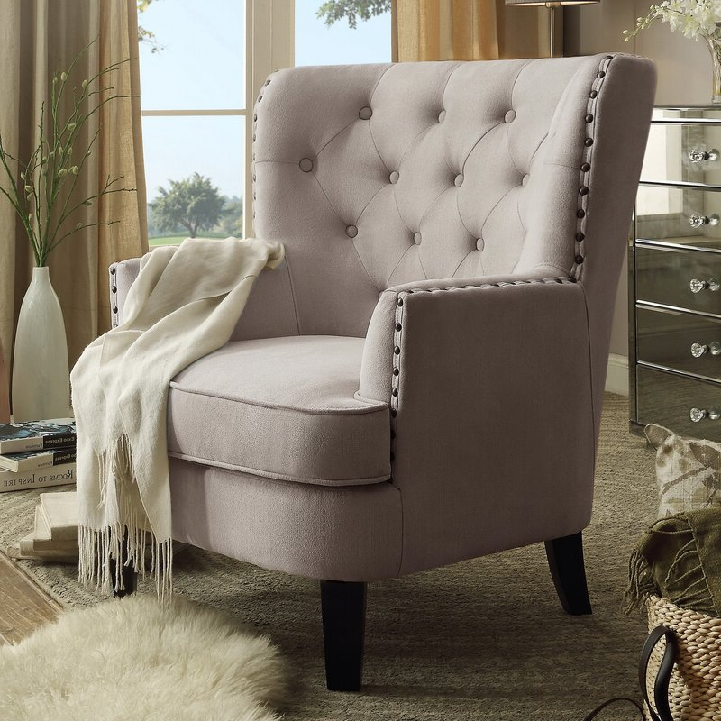 """2019 Ivo 30"""" W Tufted Wingback Chair Pertaining To Galesville Tufted Polyester Wingback Chairs (View 10 of 30)"""