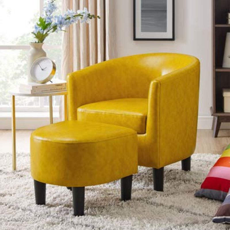 2019 Oah D7986 Lilola Roseann Wrought Studio Yellow Faux Leather With Regard To Liam Faux Leather Barrel Chairs (View 15 of 30)