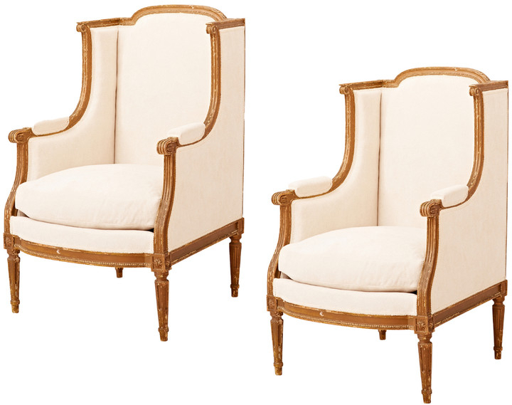 2019 Pair Of French Louis Xvi Bergere Lounge Chairs Intended For Roswell Polyester Blend Lounge Chairs (View 22 of 30)