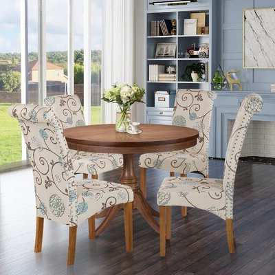 2020 Aaliyah Parsons Chairs In Barukh Linen Upholstered Parsons Chair Upholstery Color: Floral Cream (View 26 of 30)