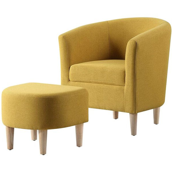 2020 Chaithra Barrel Chair And Ottoman Sets Pertaining To Yellow Chair Ottoman (View 15 of 30)
